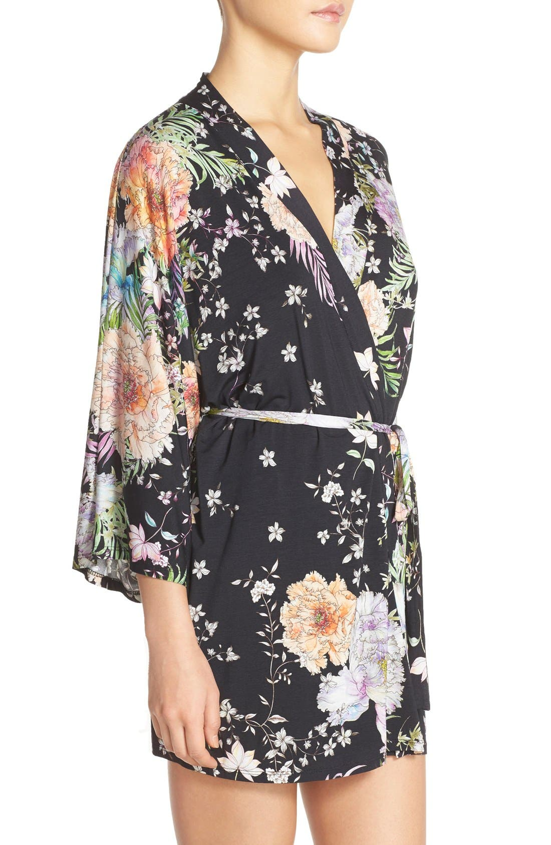 FLORA NIKROOZ,                             'Magnolia' Knit Short Robe,                             Alternate thumbnail 3, color,                             001