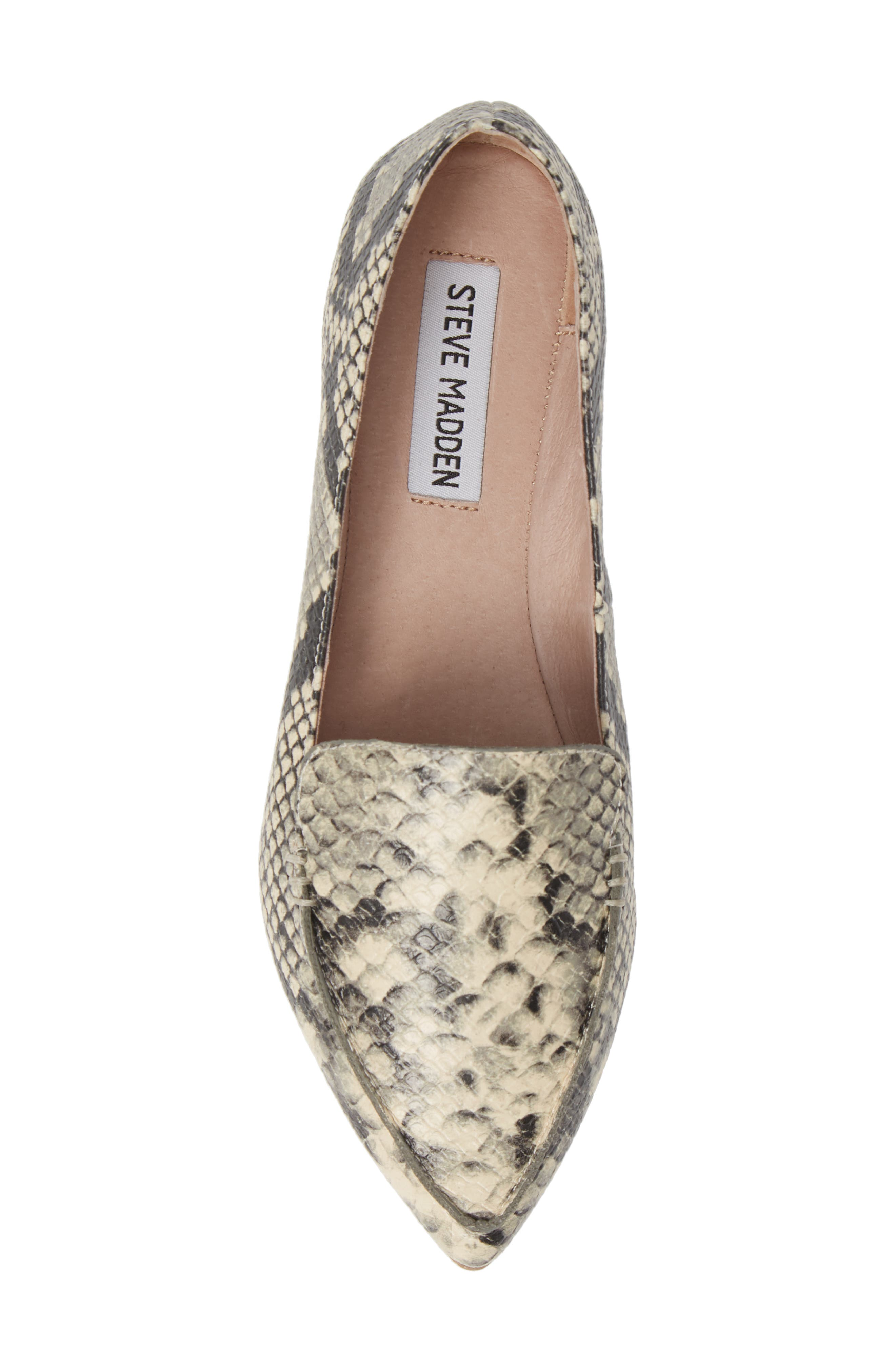 Feather Loafer Flat,                             Alternate thumbnail 5, color,                             SNAKE PRINT LEATHER