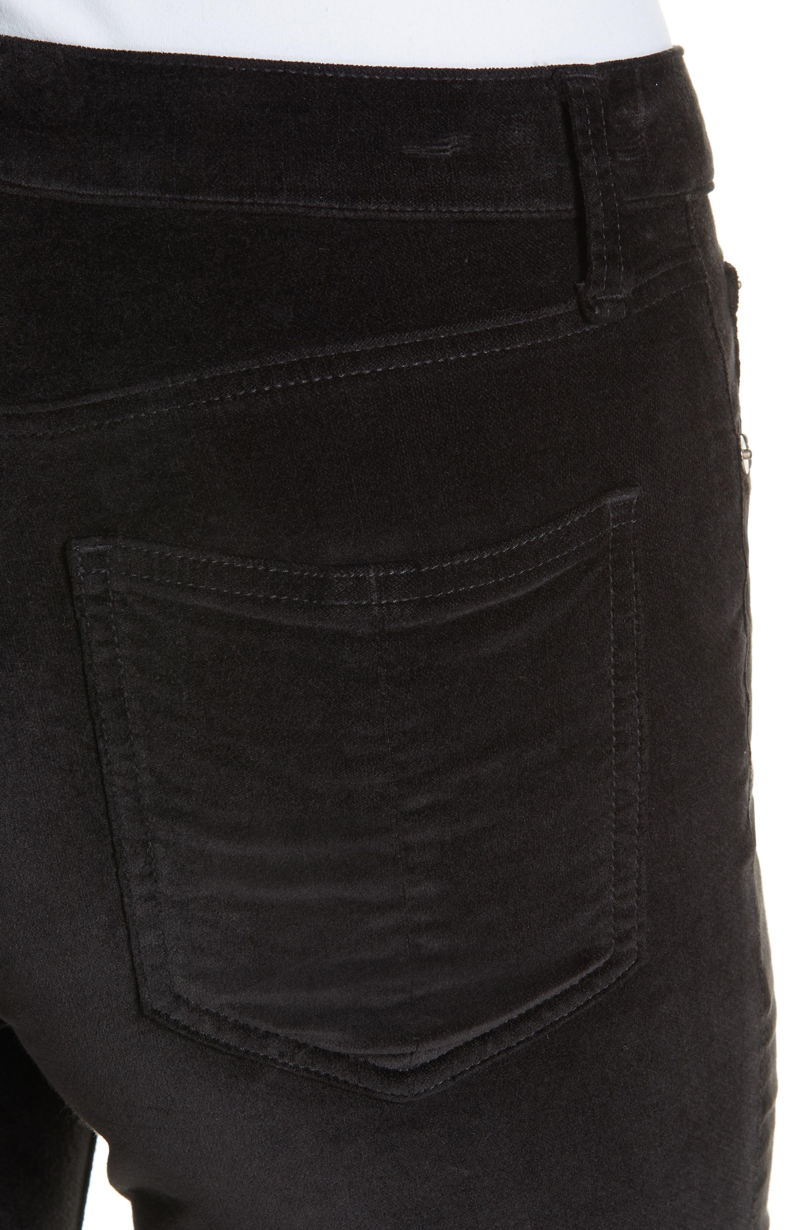 High Waist Velvet Skinny Pants,                             Alternate thumbnail 4, color,                             BLACK