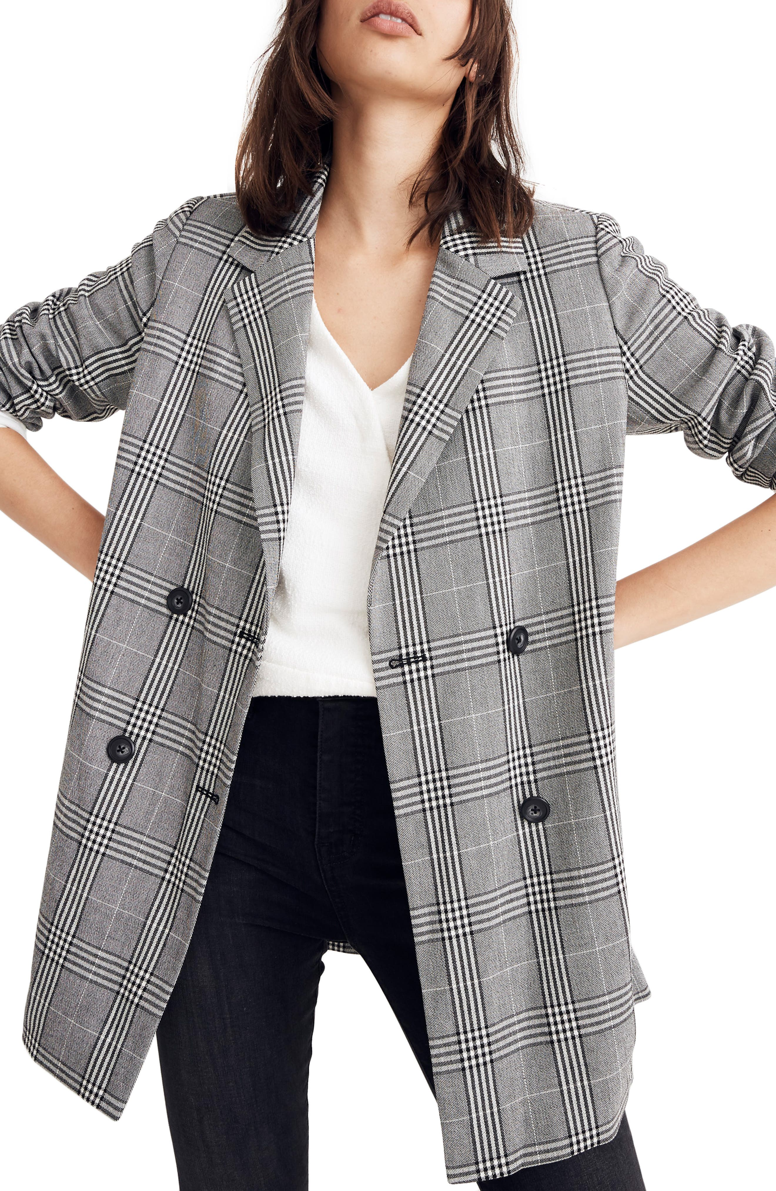 Caldwell Plaid Double Breasted Blazer,                             Main thumbnail 1, color,                             CLASSIC BLACK