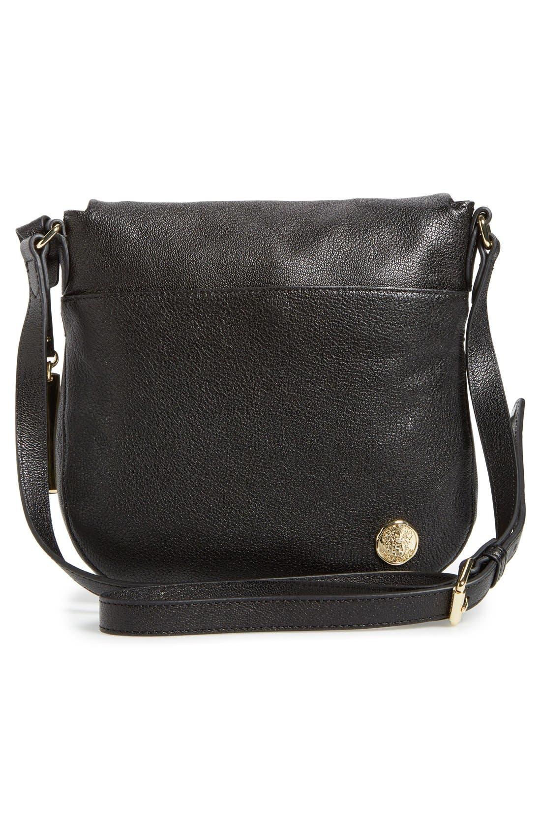 'Tala' Leather Crossbody Bag,                             Alternate thumbnail 3, color,                             001
