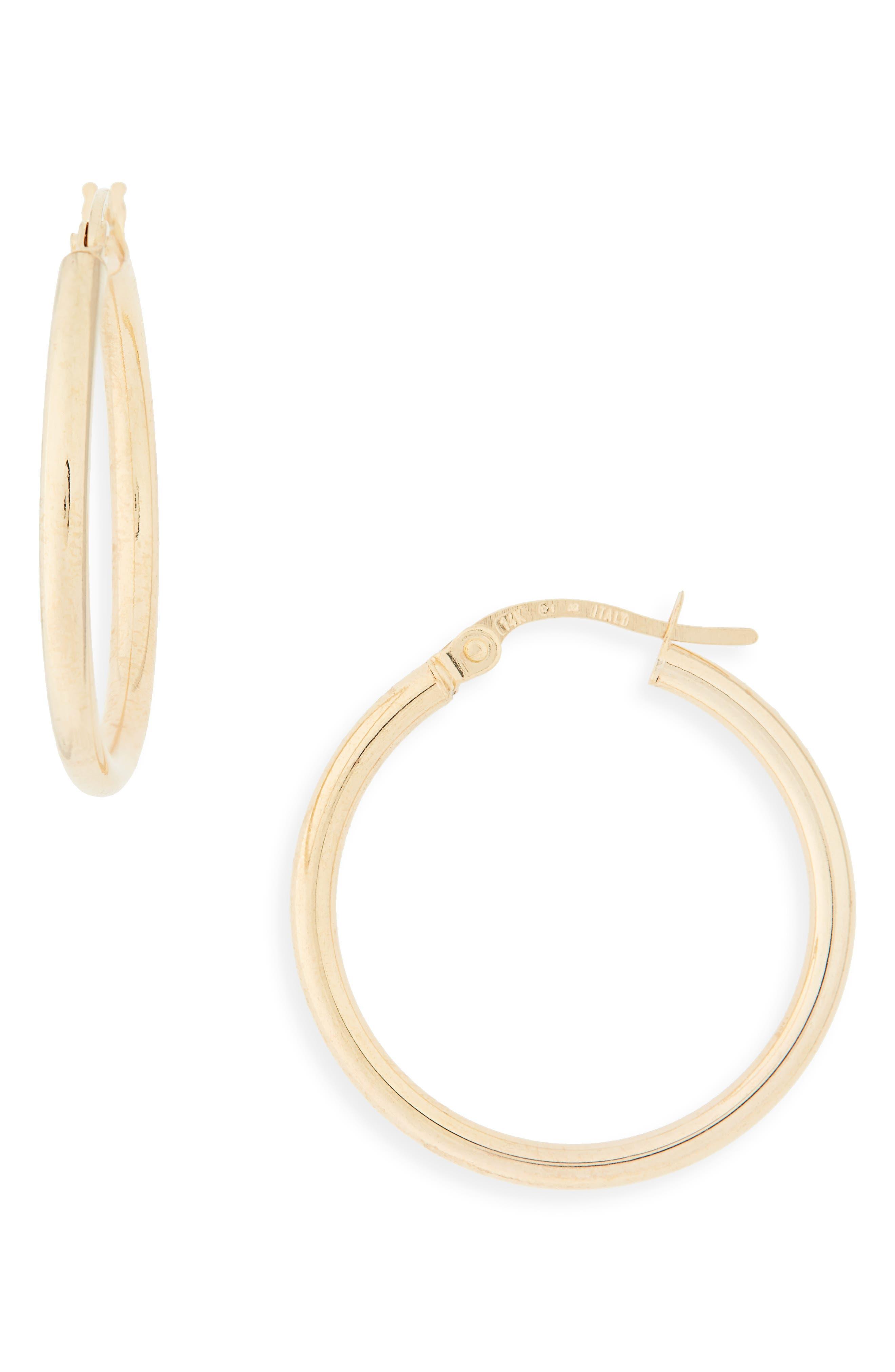 14k Gold Hoop Earrings,                             Alternate thumbnail 2, color,                             YELLOW GOLD