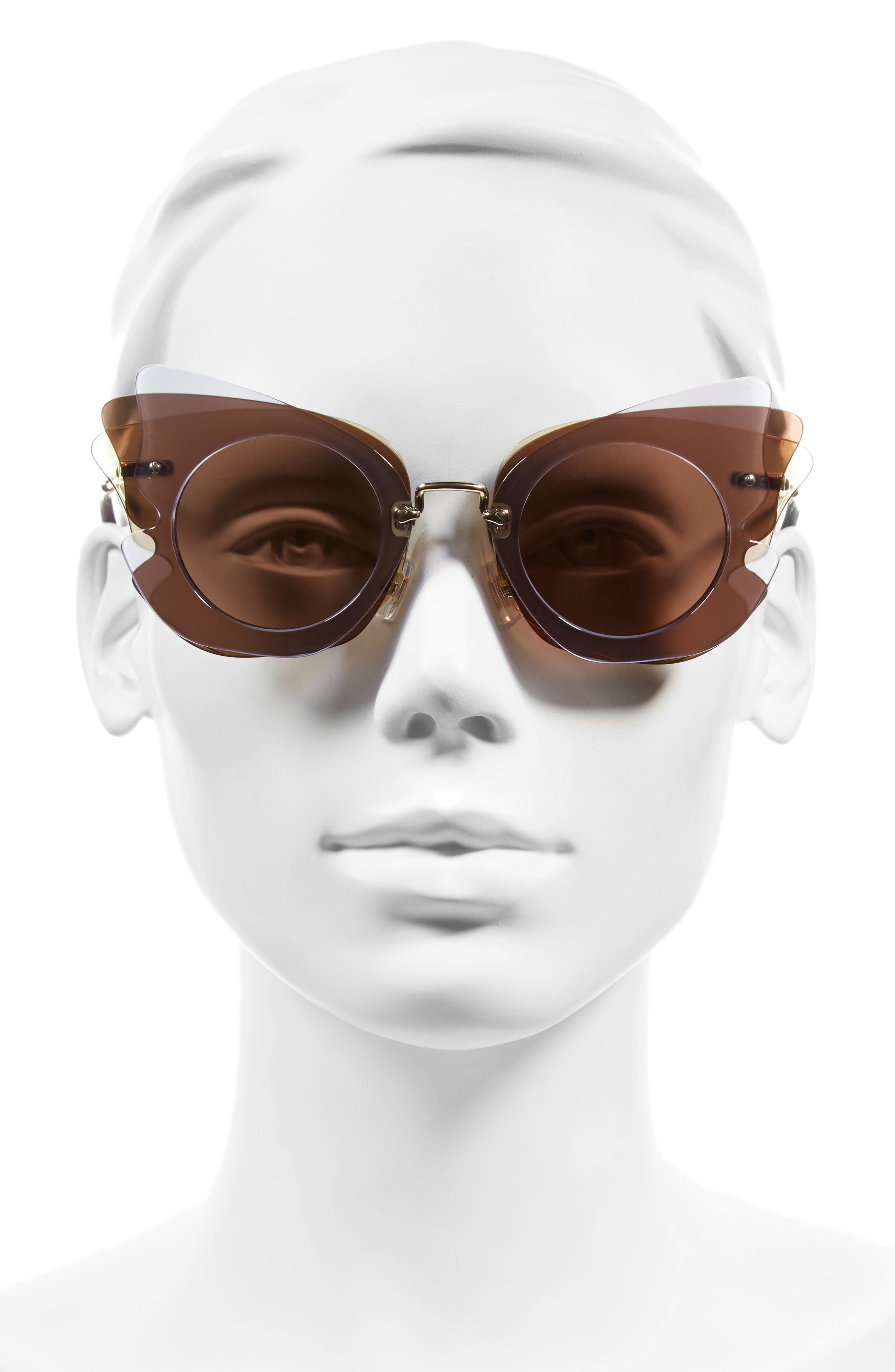 63mm Layered Butterfly Sunglasses,                             Alternate thumbnail 6, color,