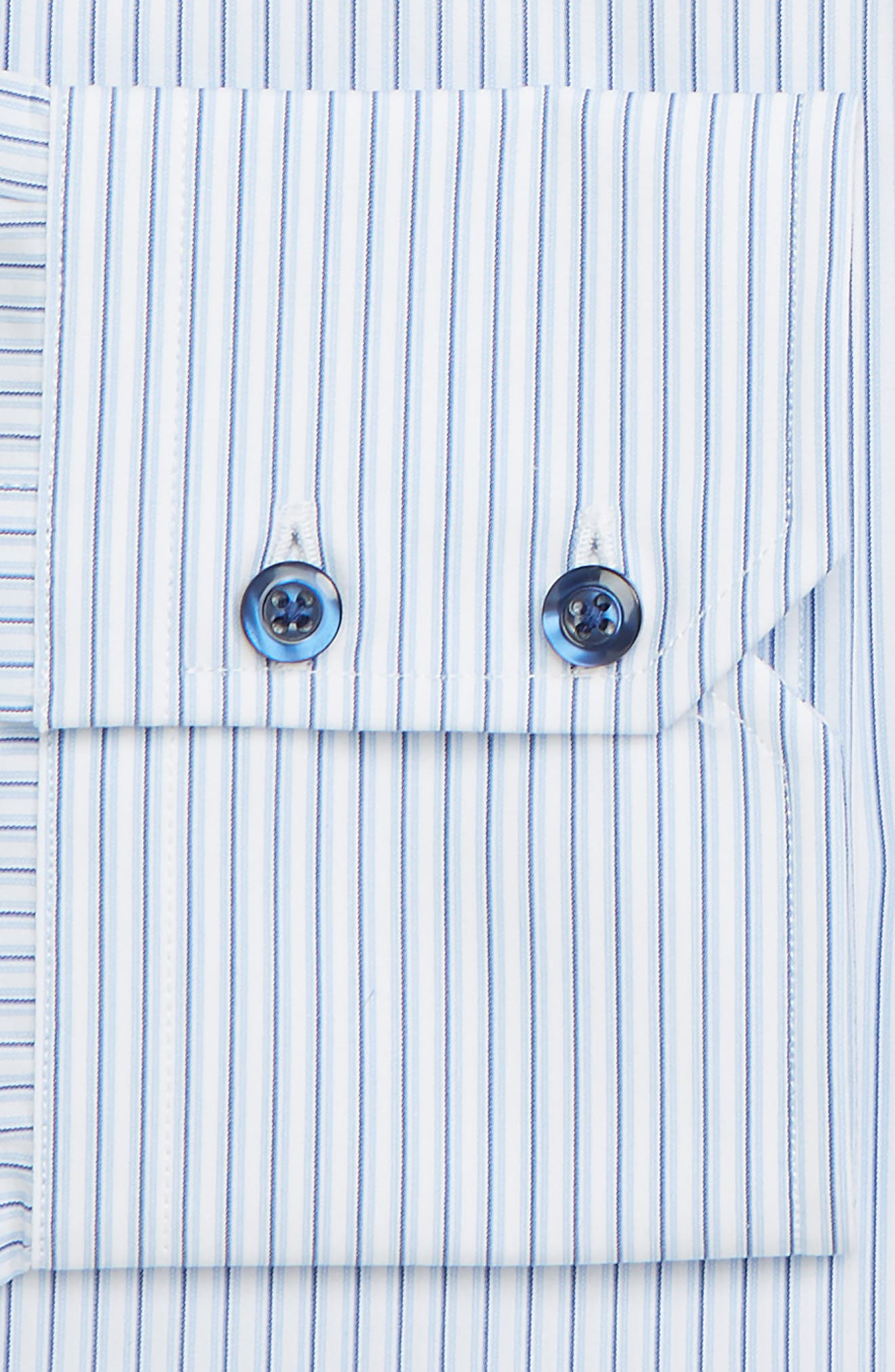 Trim Fit Stripe Dress Shirt,                             Alternate thumbnail 2, color,                             WHITE/ BLUE