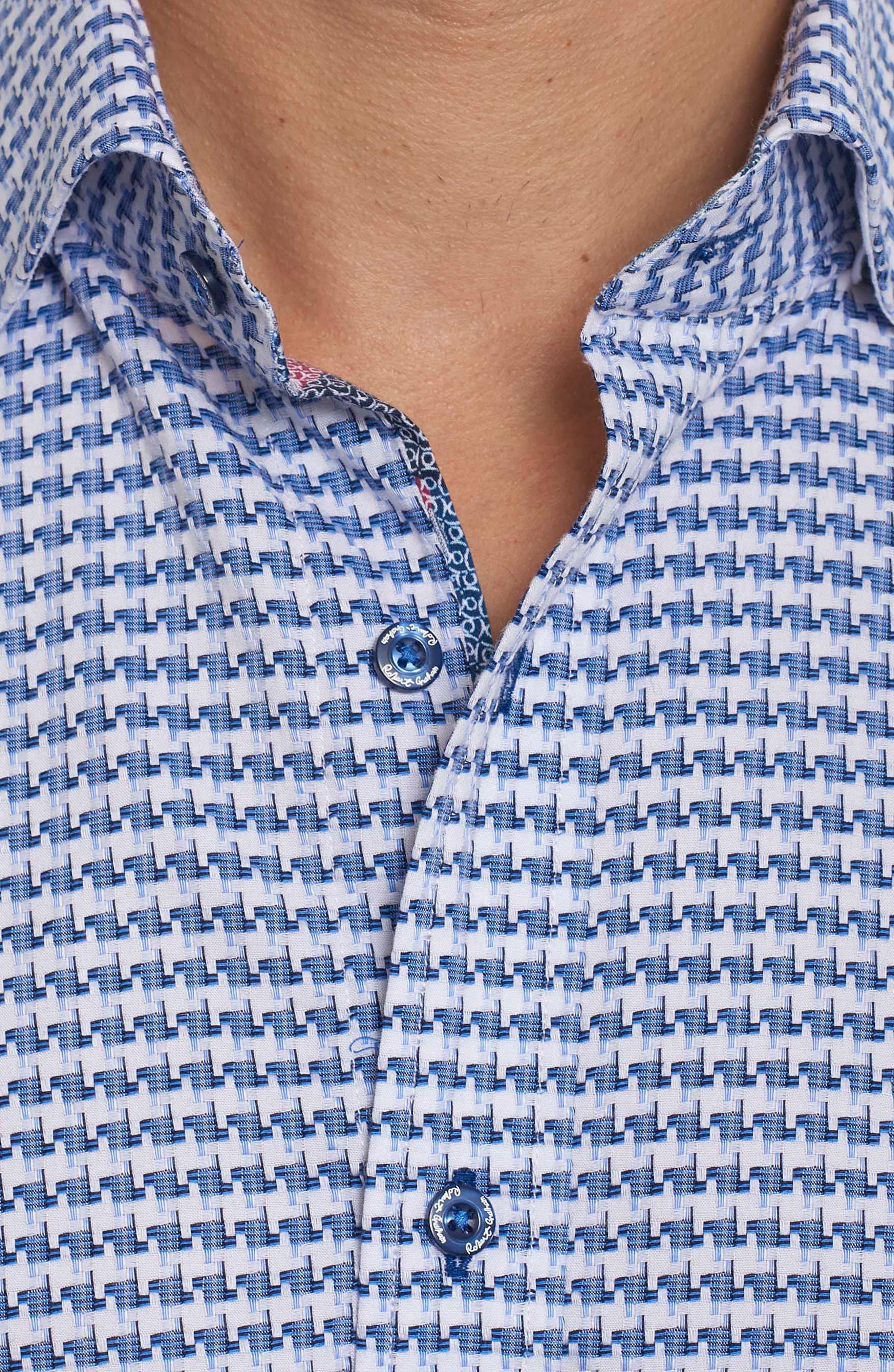 Landen Tailored Fit Print Sport Shirt,                             Alternate thumbnail 8, color,