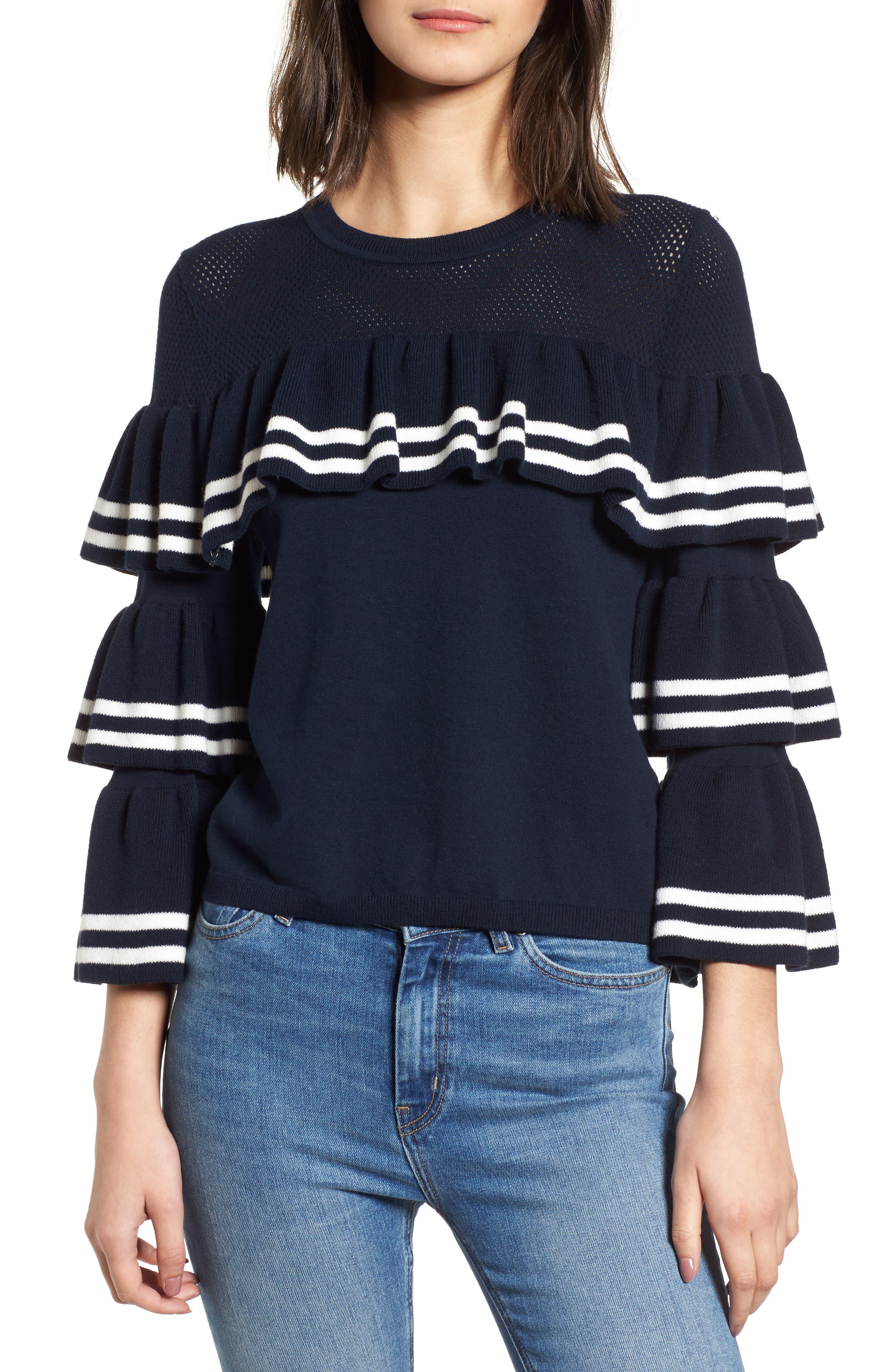 Rhonda Tiered Sleeve Sweater,                             Main thumbnail 1, color,
