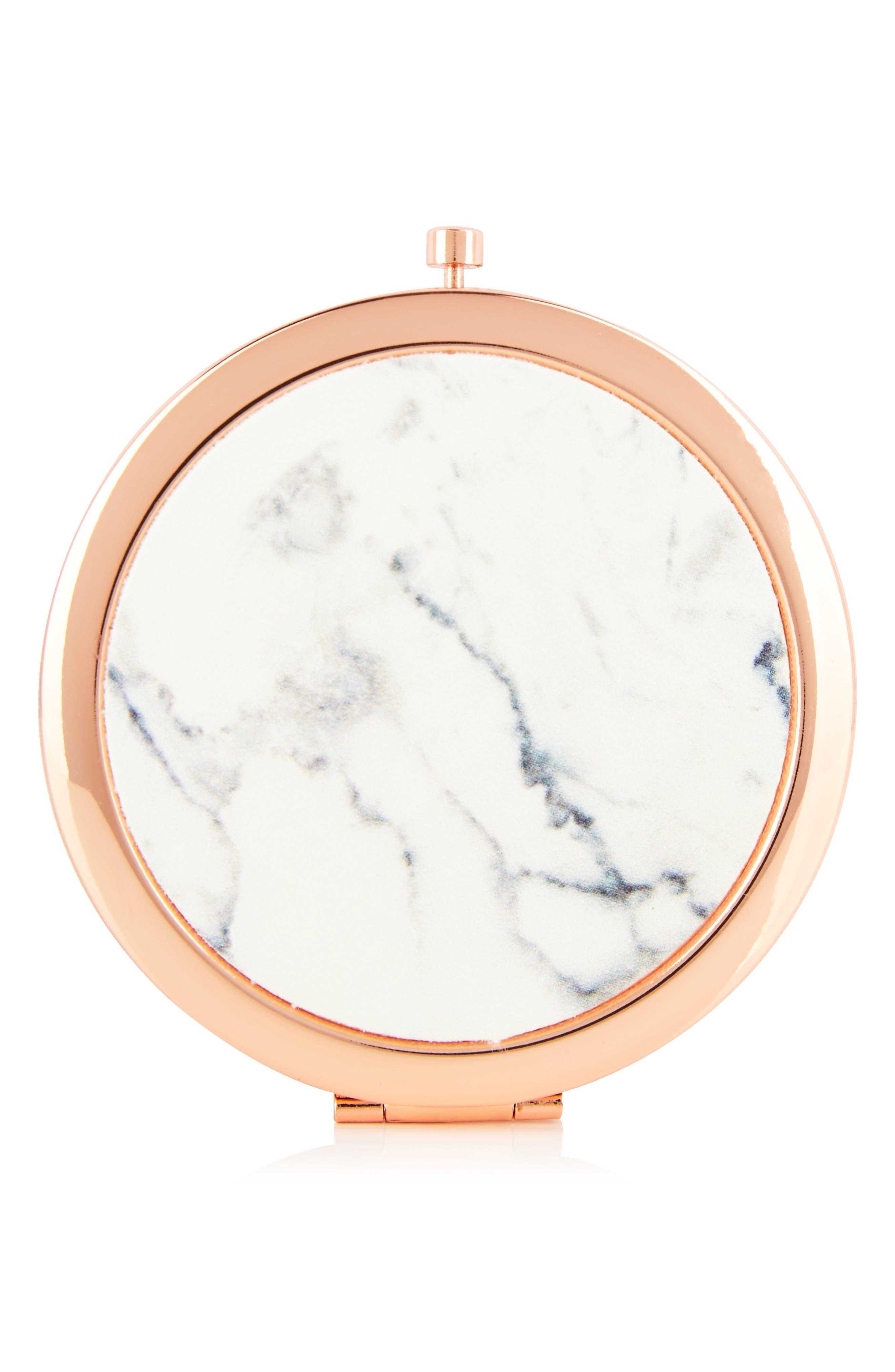 SKINNYDIP,                             Skinny Dip Marble Compact Mirror,                             Alternate thumbnail 2, color,                             000