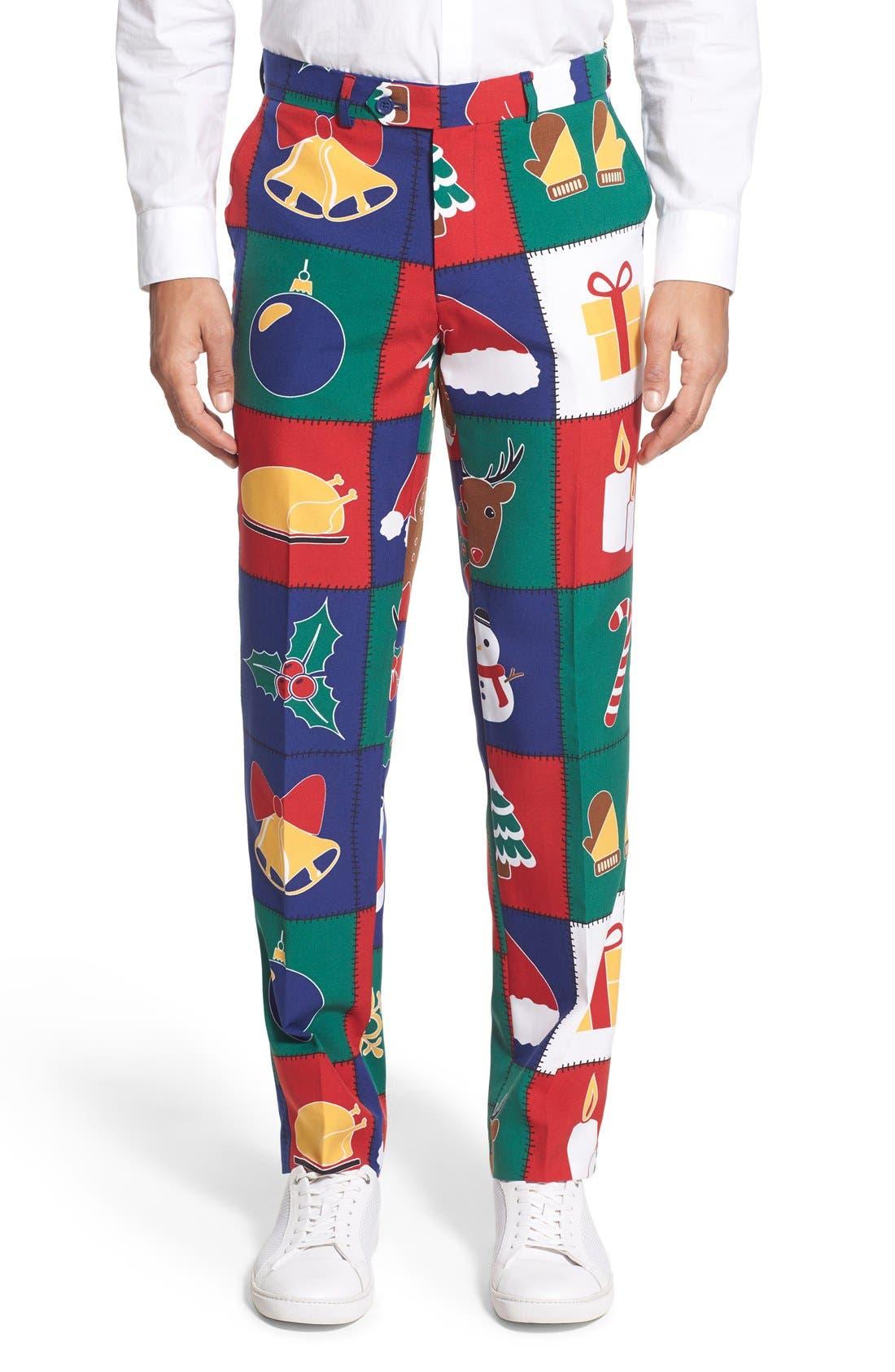 'Quilty Pleasure' Holiday Suit & Tie,                             Alternate thumbnail 6, color,                             300