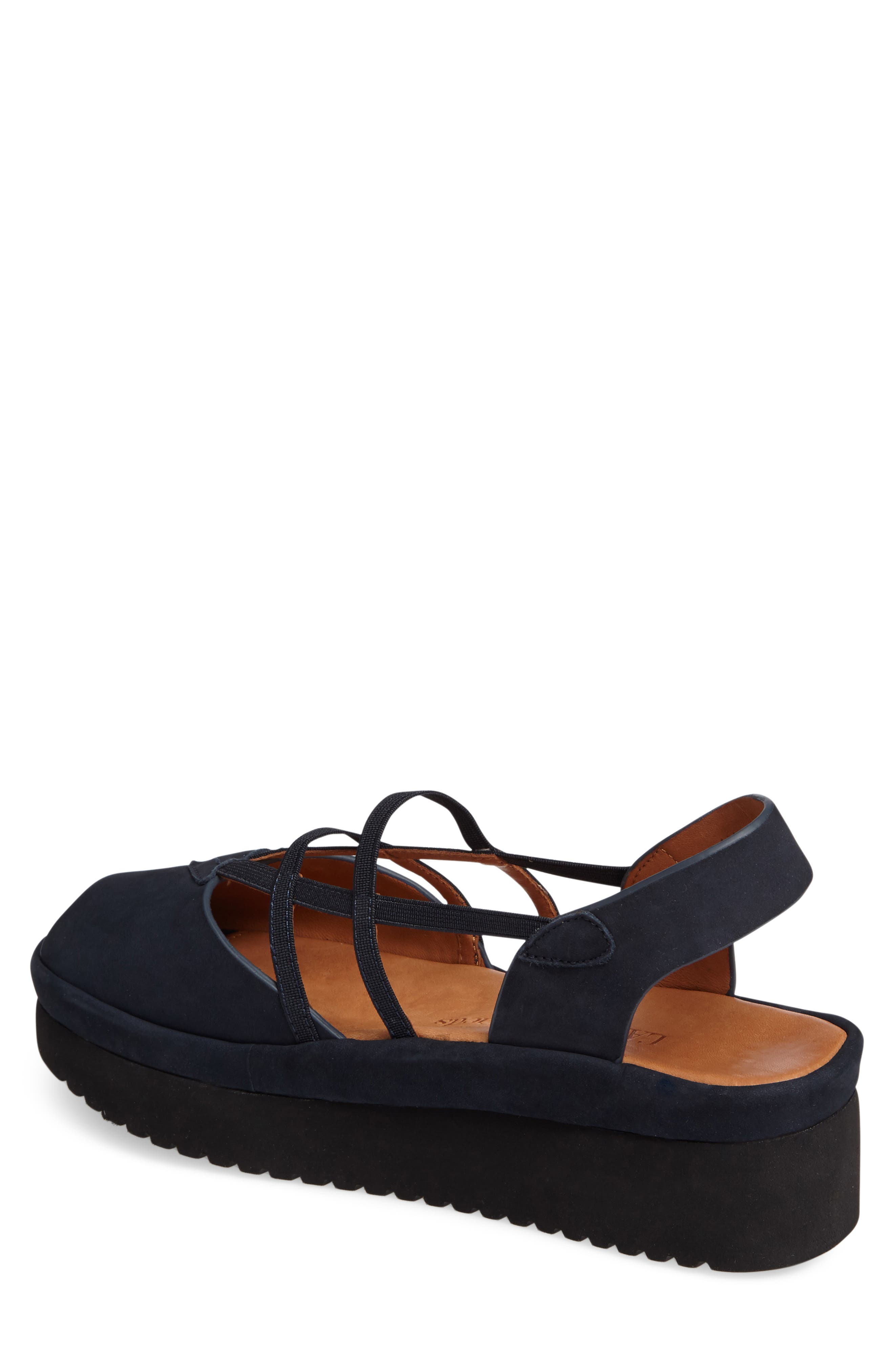 Adelais Platform Wedge Sandal,                             Alternate thumbnail 2, color,                             NAVY NUBUCK