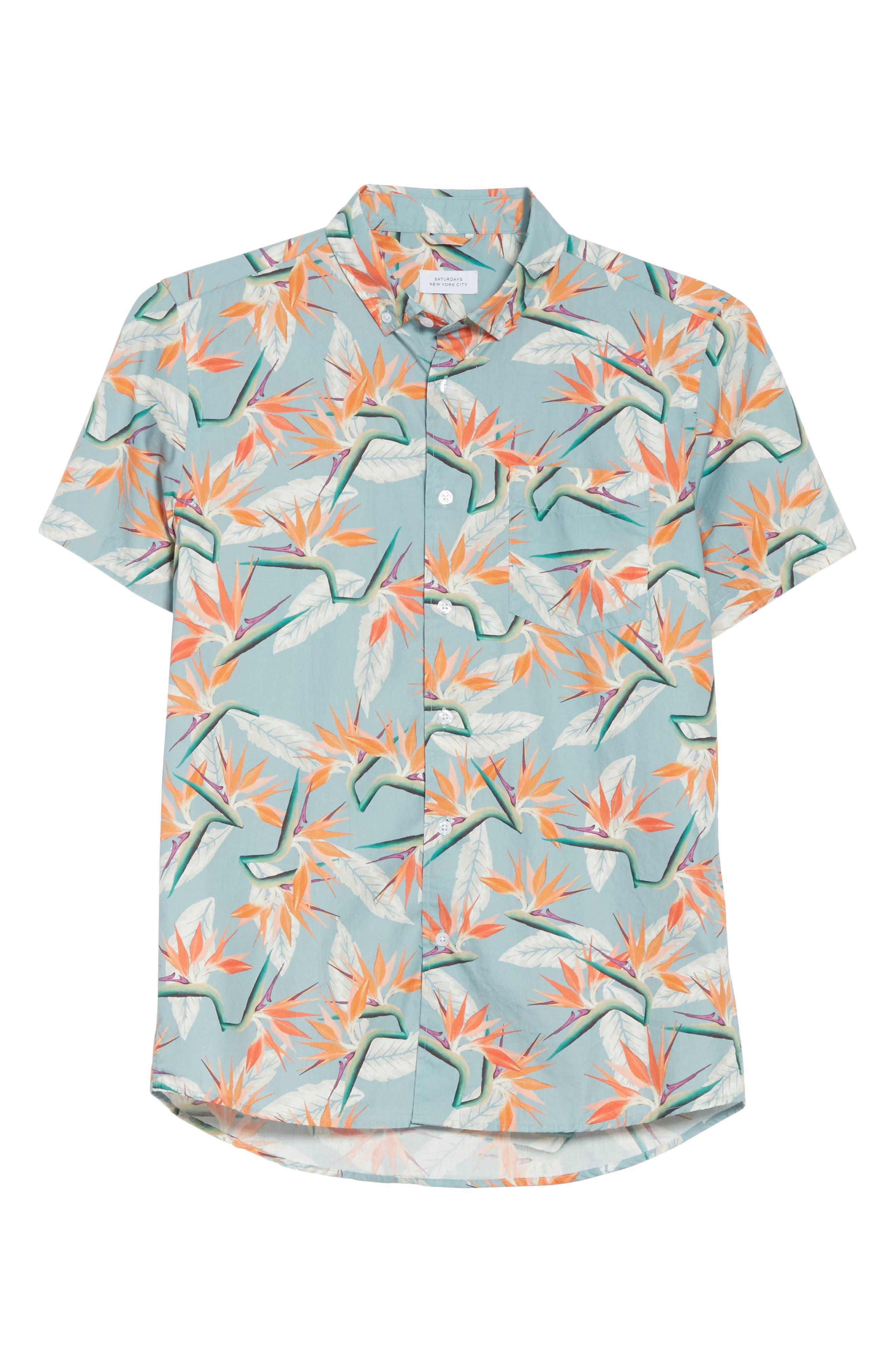 Esquina Paradise Woven Shirt,                             Alternate thumbnail 6, color,                             PARADISE PRINT