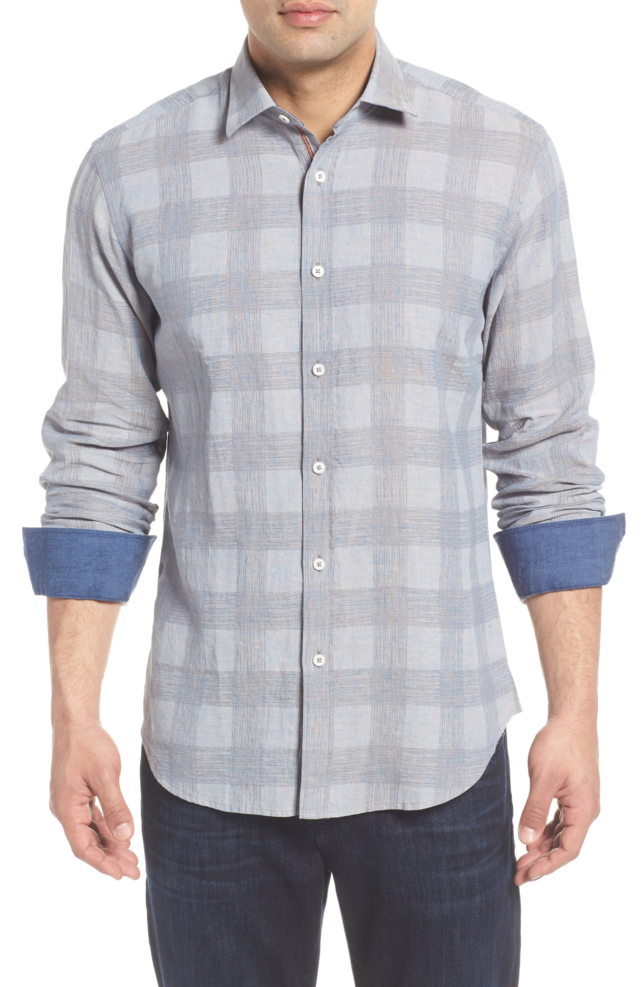 Shaped Fit Check Linen Blend Sport Shirt,                             Main thumbnail 1, color,                             STONE