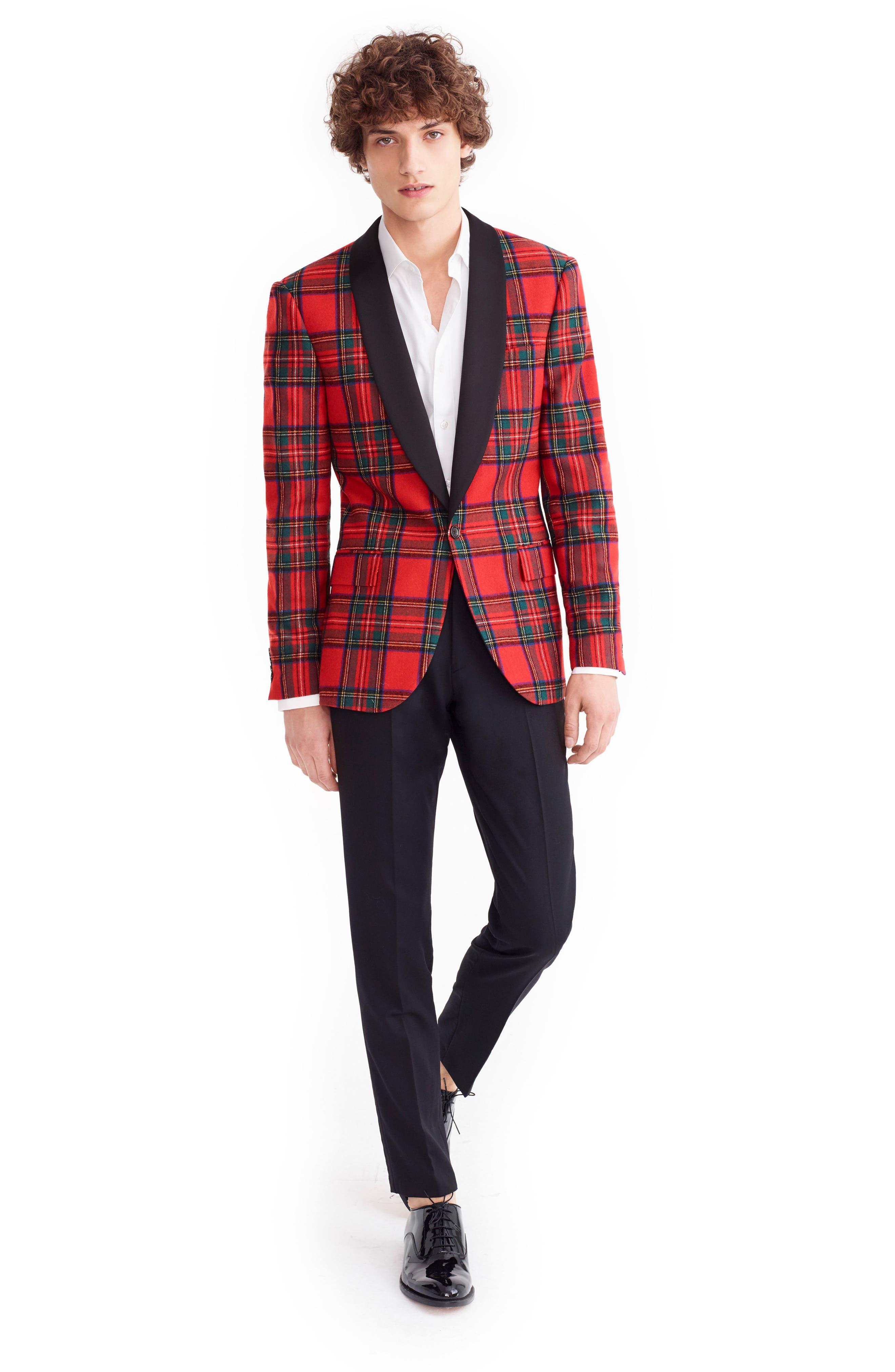 J.CREW,                             Ludlow Slim Fit Tartan Wool Blend Dinner Jacket,                             Alternate thumbnail 5, color,                             600