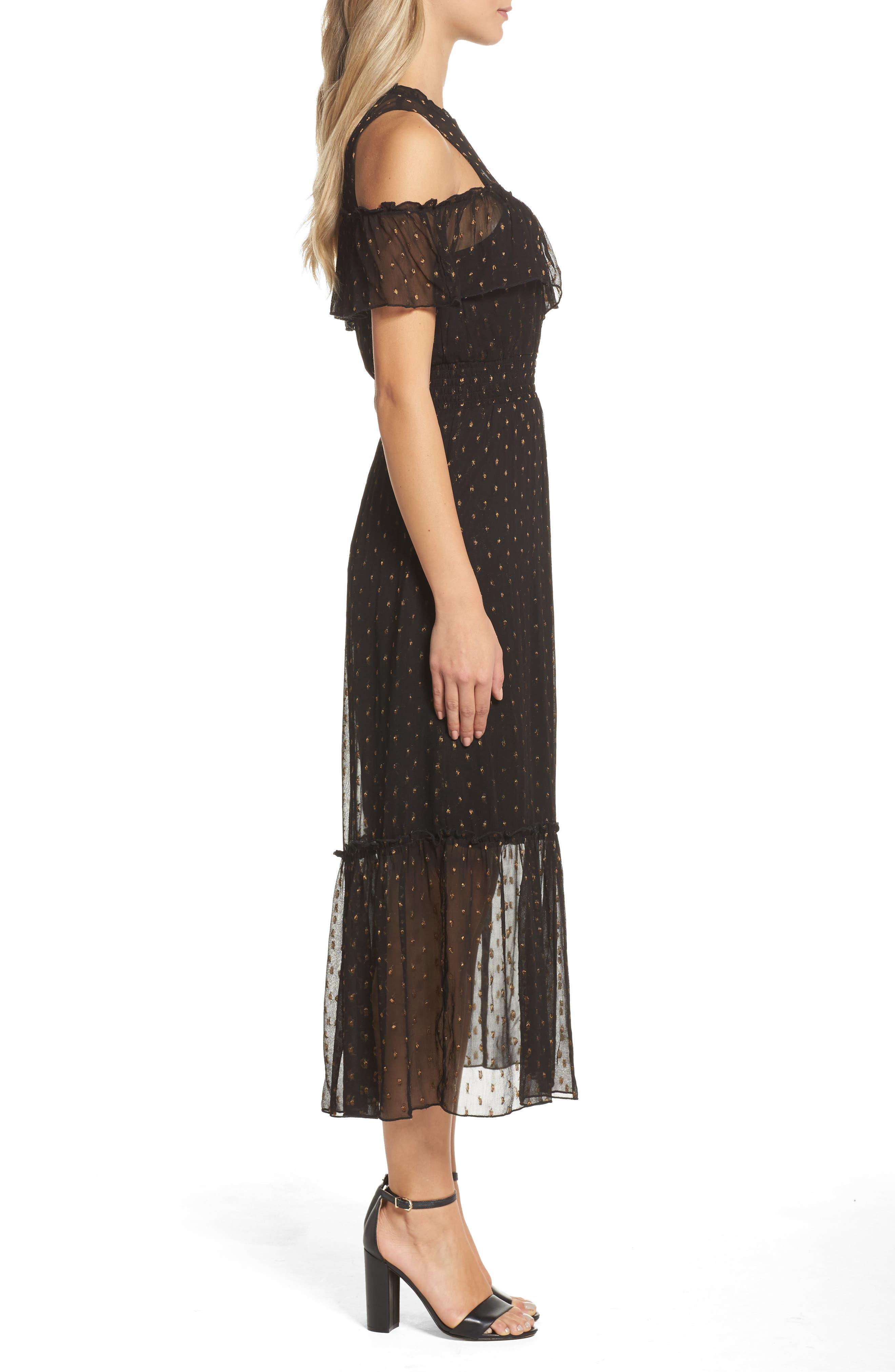 NSR,                             Lace Cold Shoulder Midi Dress,                             Alternate thumbnail 3, color,                             001