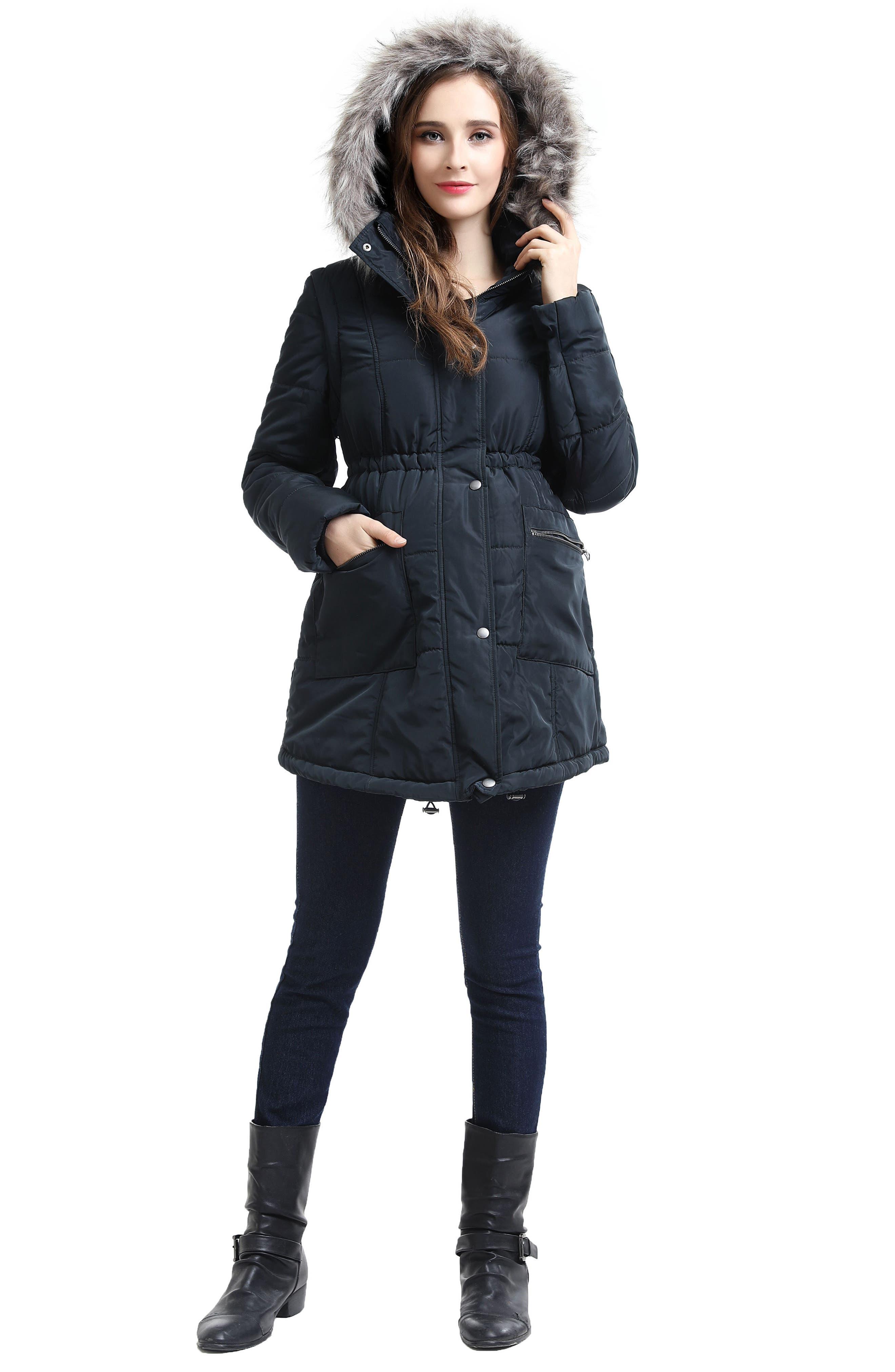 Mina 2-in-1 Hooded Maternity Coat,                             Alternate thumbnail 7, color,                             GREY
