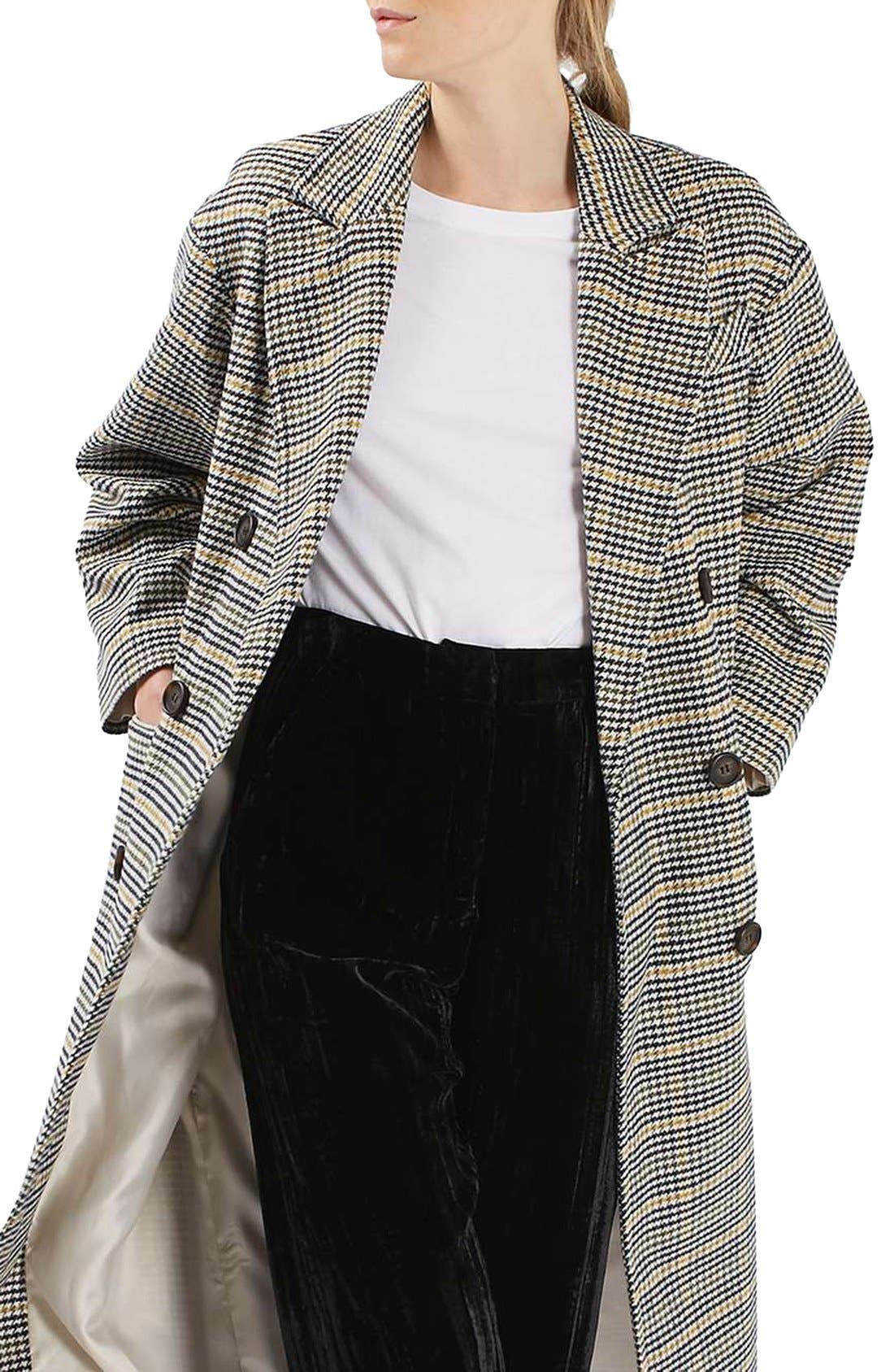 TOPSHOP,                             Heritage Check Coat,                             Alternate thumbnail 6, color,                             001