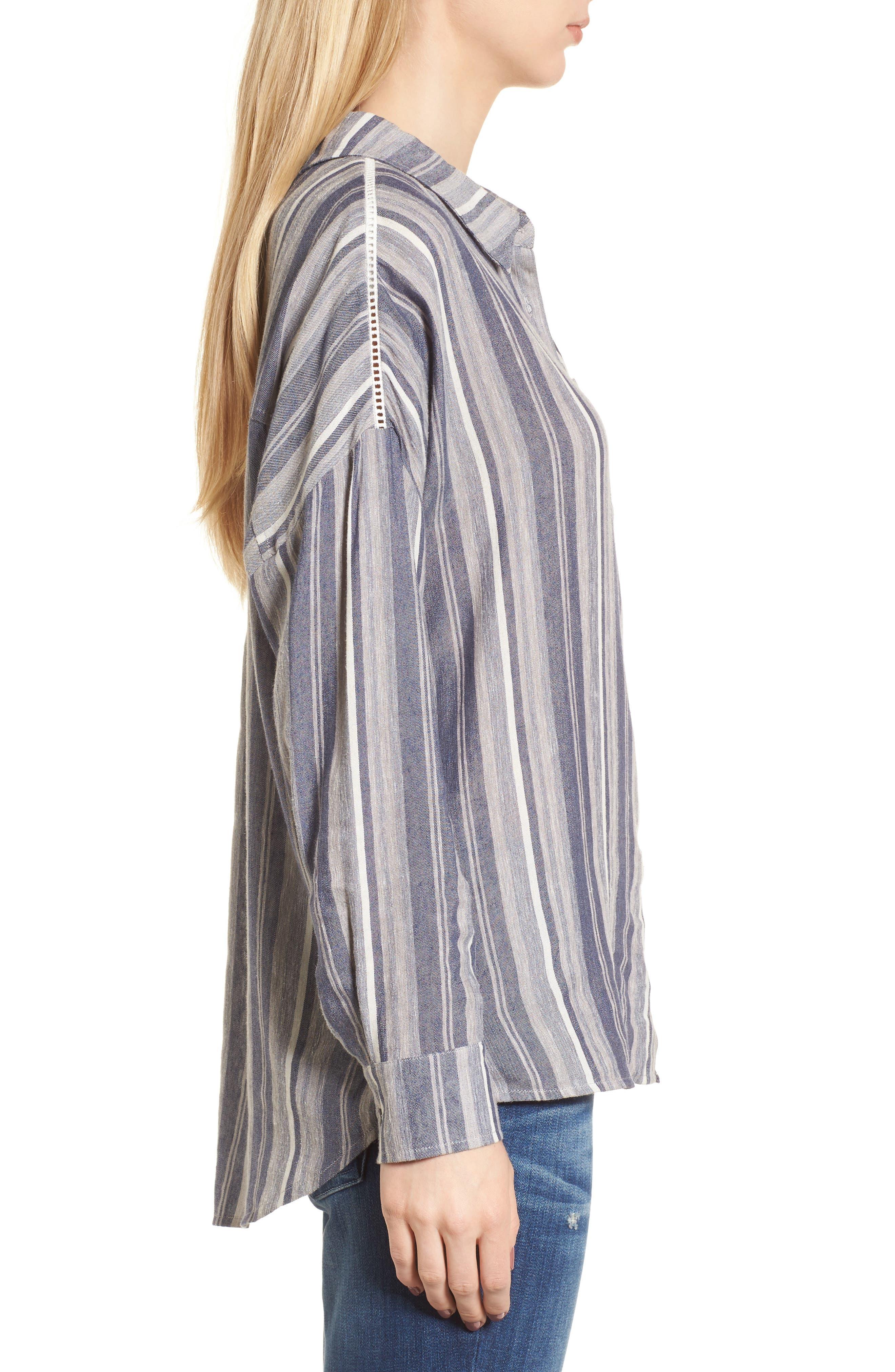 Stripe Chambray Shirt,                             Alternate thumbnail 3, color,                             466
