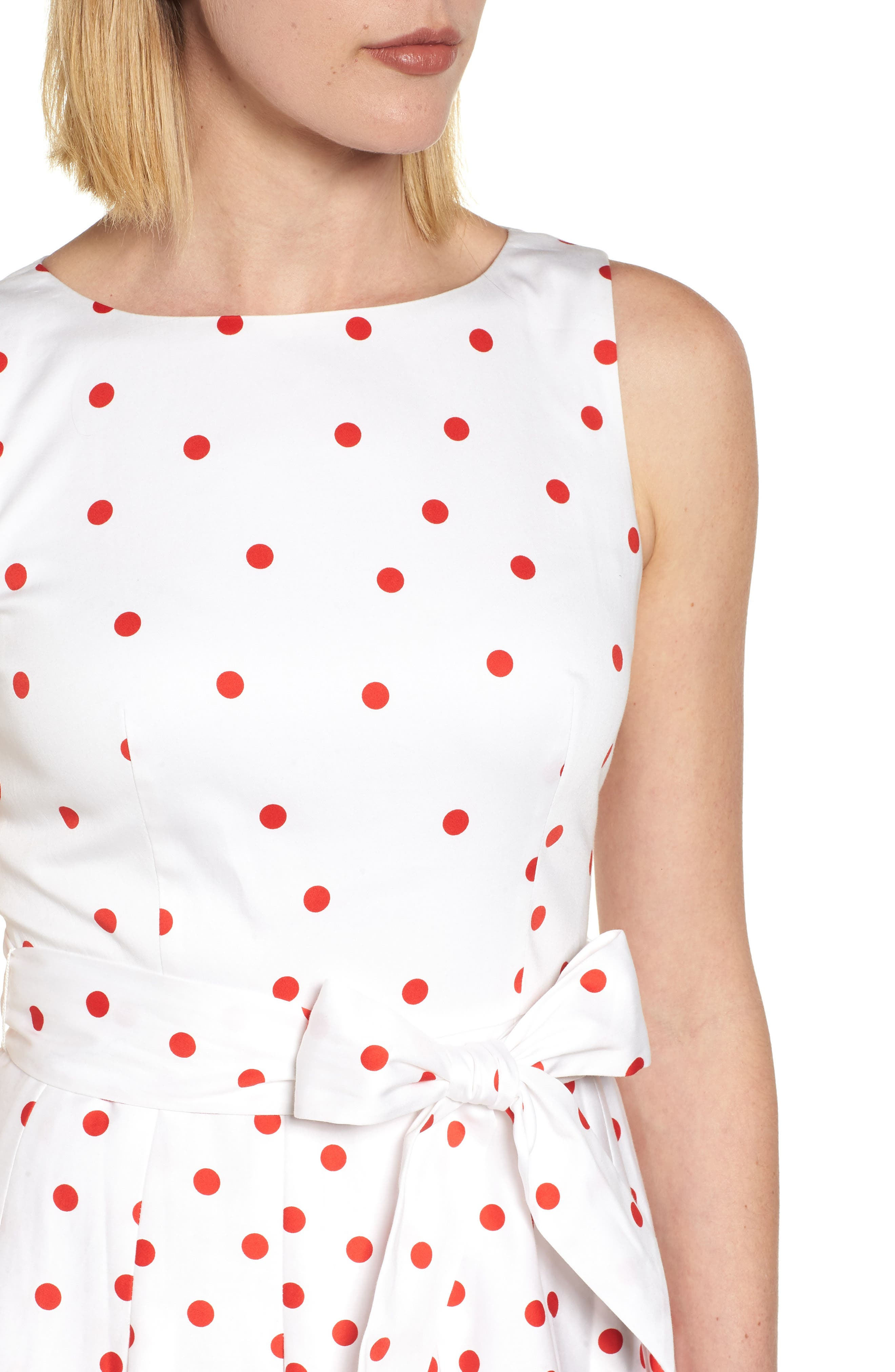 Scattered Dot Stretch Cotton Dress,                             Alternate thumbnail 4, color,                             100