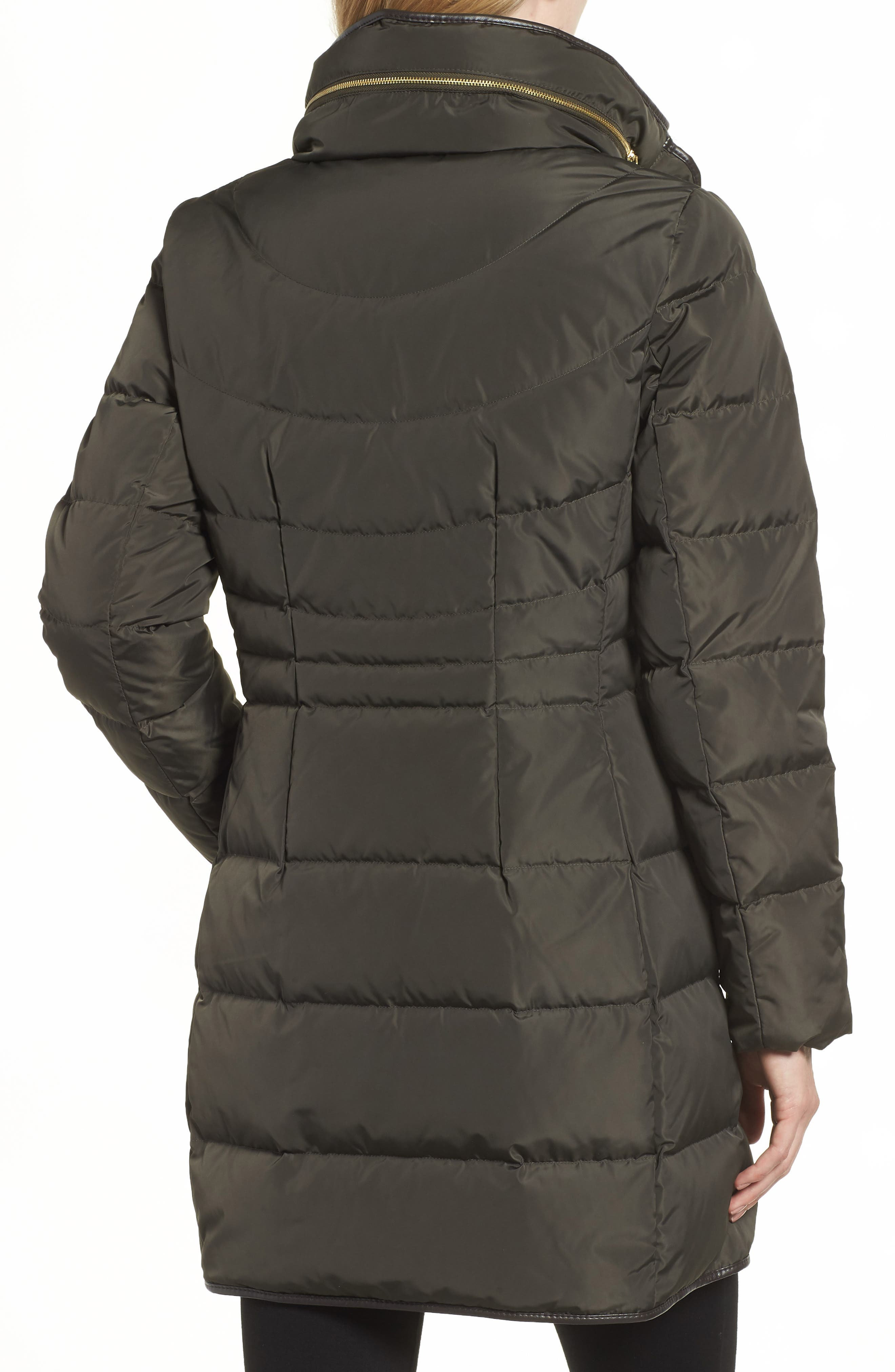 Cole Haan Quilted Down & Feather Fill Jacket with Faux Fur Trim,                             Alternate thumbnail 2, color,                             FOREST