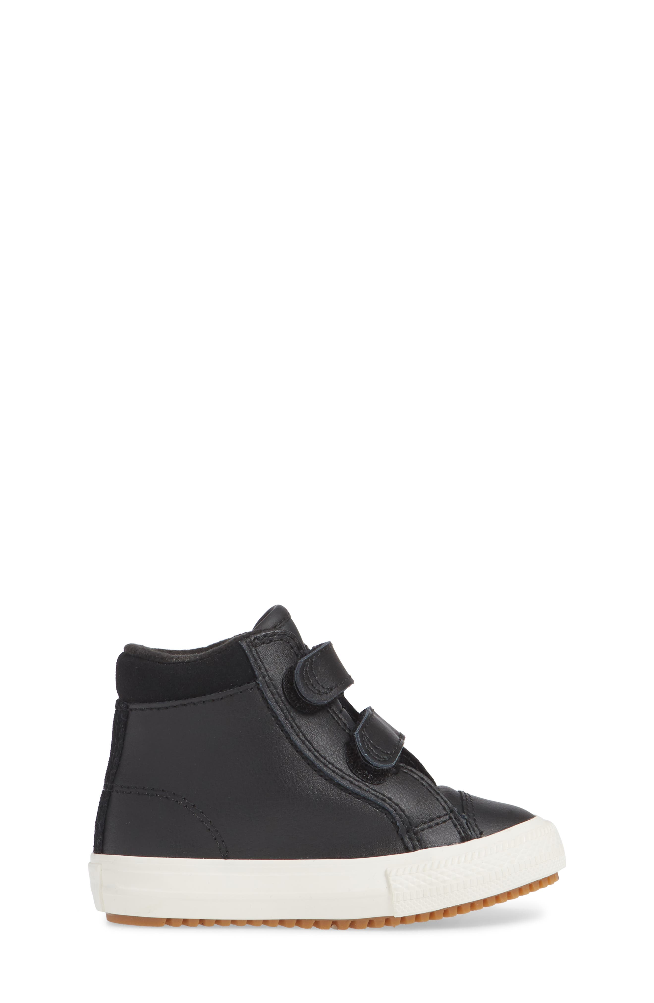 Chuck Taylor<sup>®</sup> All Star<sup>®</sup> 2V Leather High TopSneaker,                             Alternate thumbnail 3, color,                             BLACK