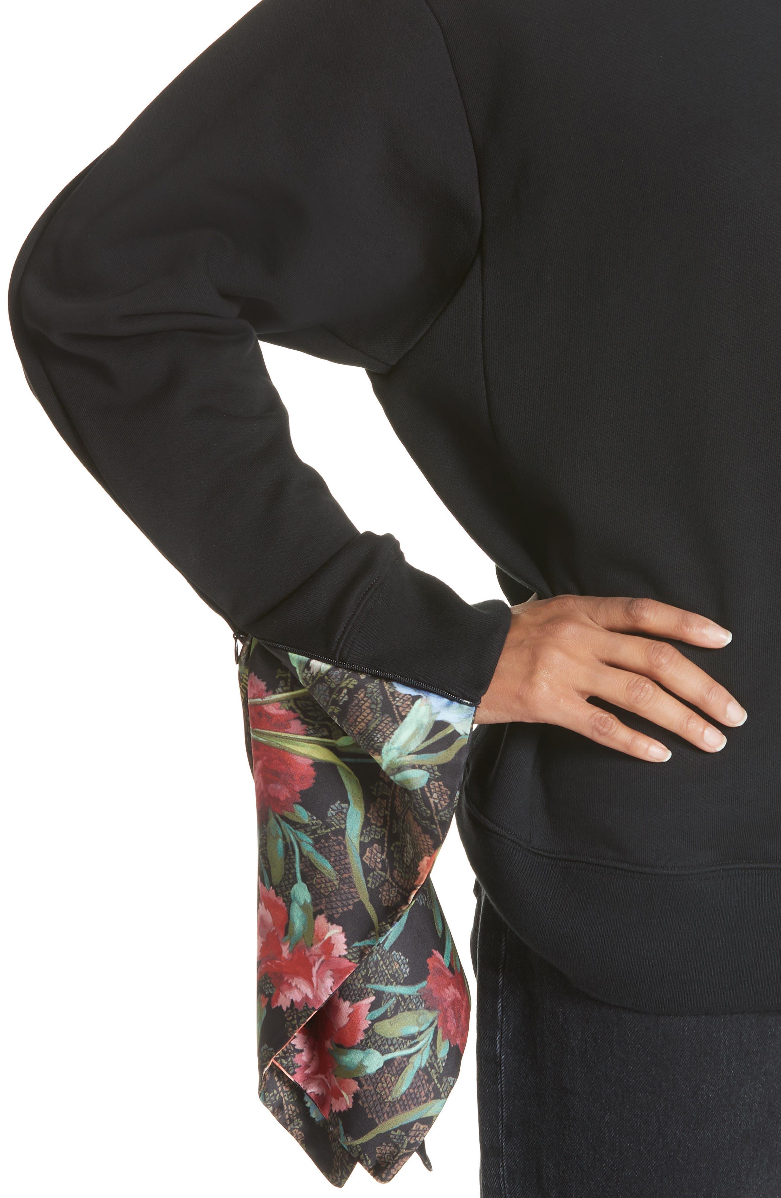 Foulard Sleeve Crewneck Sweatshirt,                             Alternate thumbnail 2, color,                             001