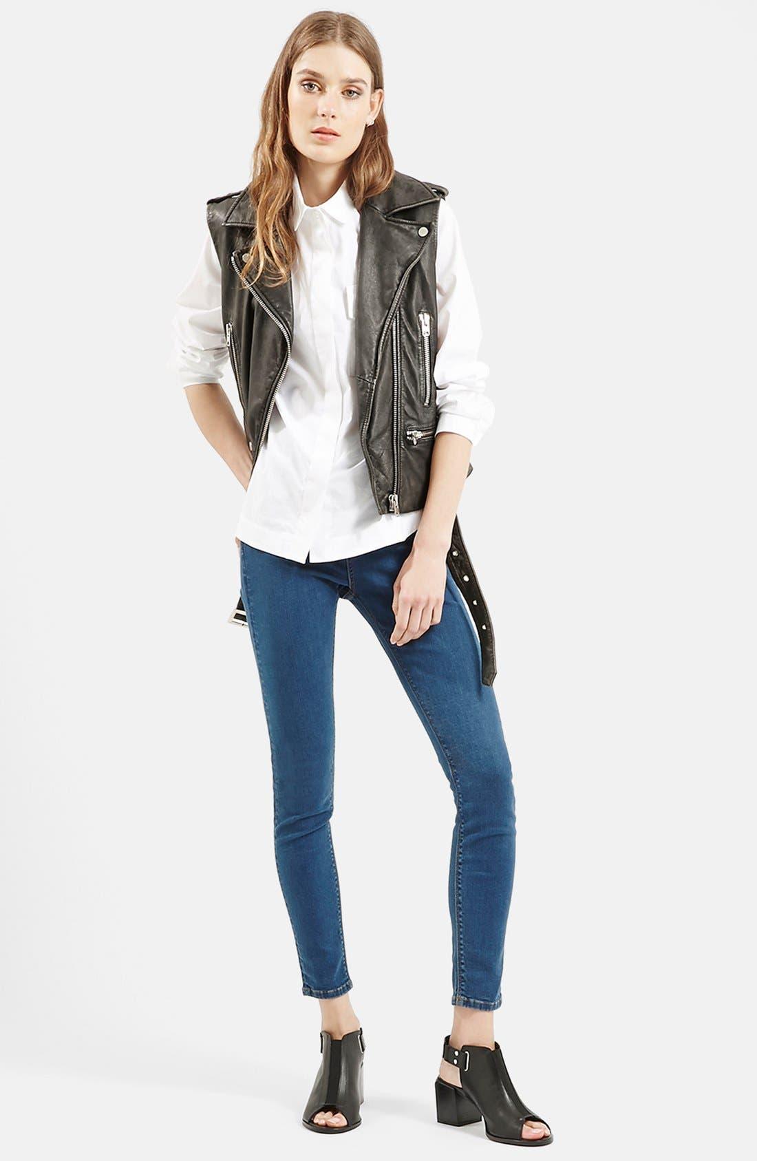 TOPSHOP,                             'Sylvia' Leather Biker Vest,                             Alternate thumbnail 3, color,                             001