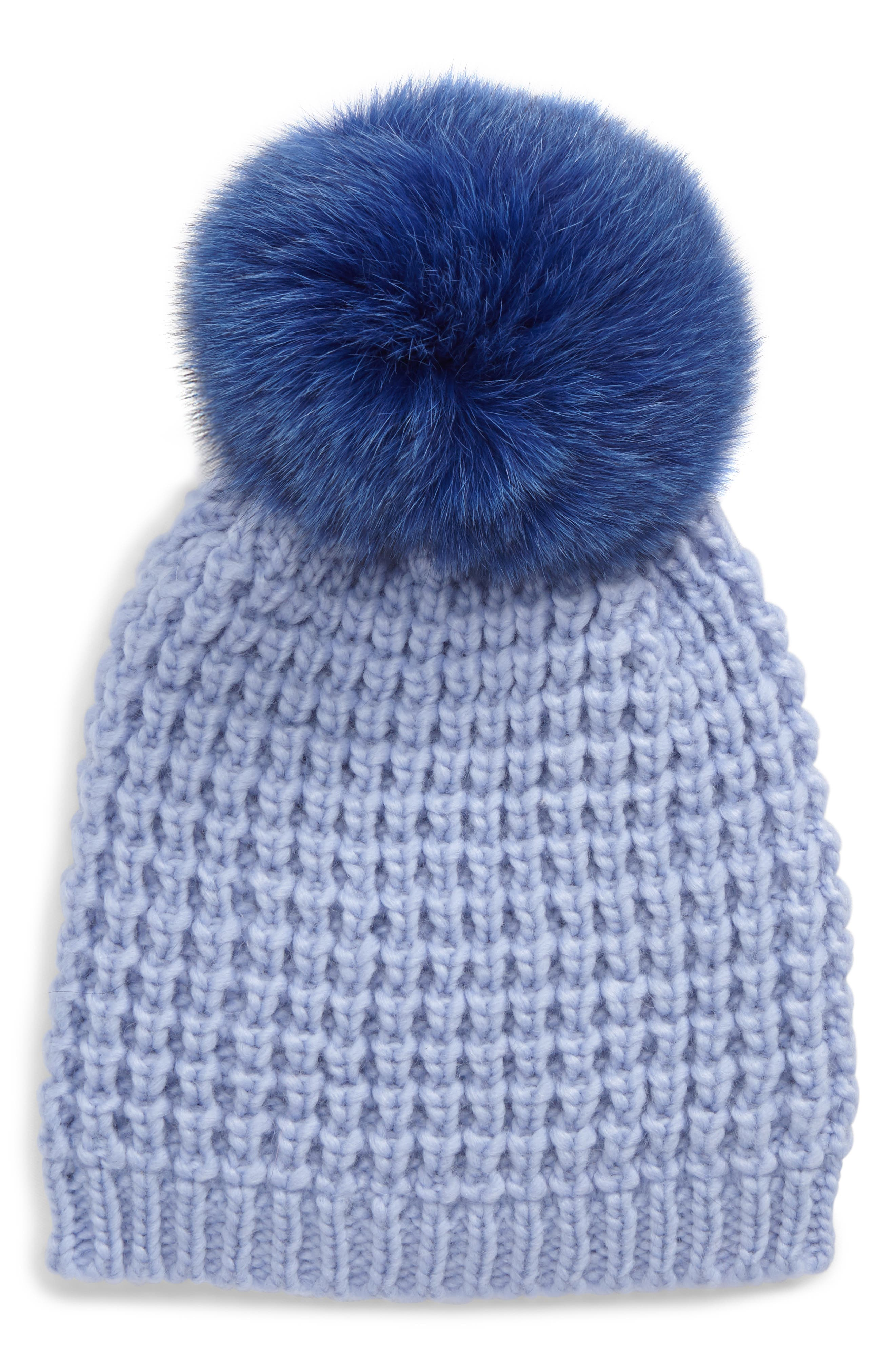 Genuine Fox Pompom Hat,                             Main thumbnail 3, color,
