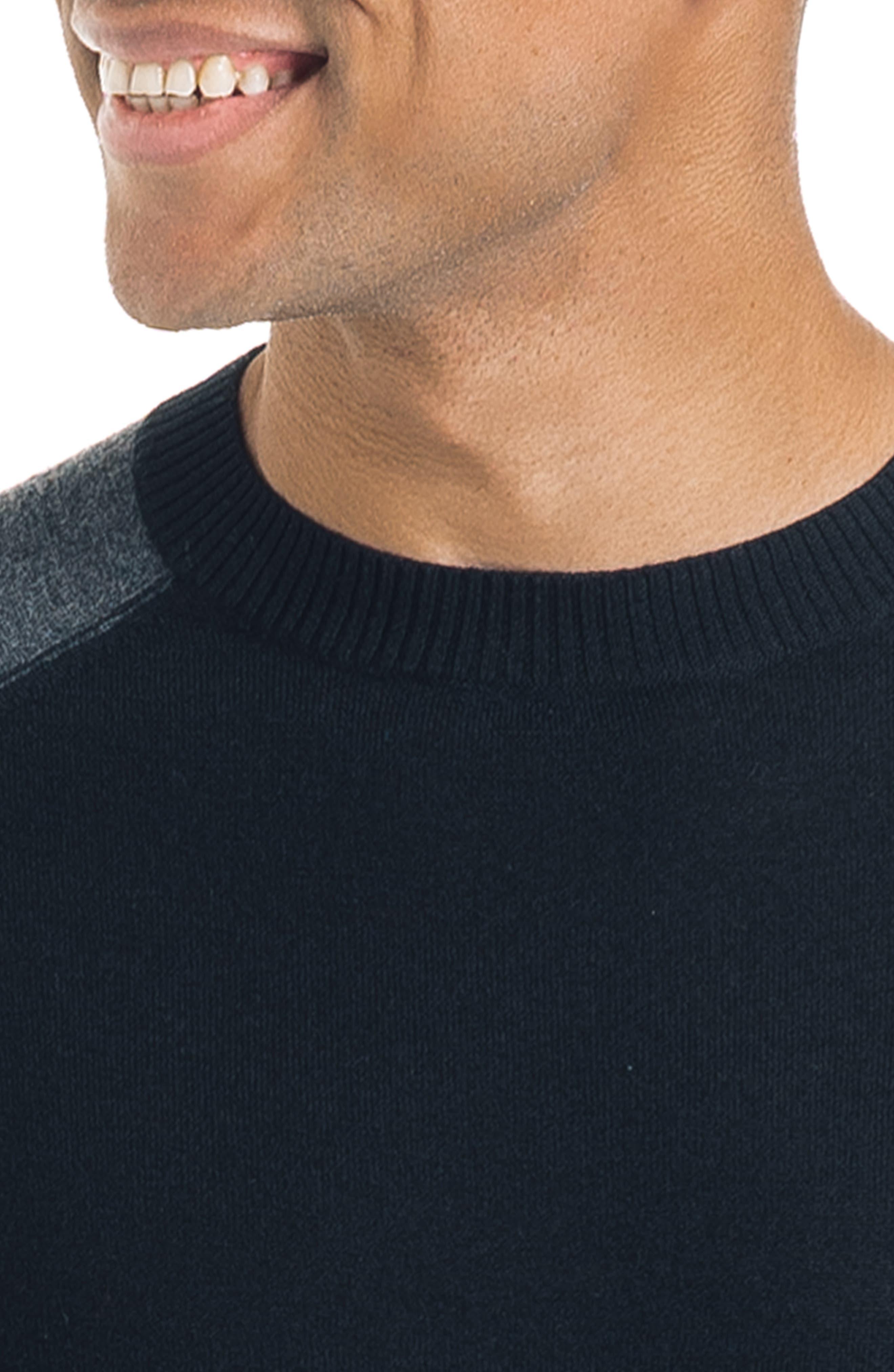 Mix Modern Slim Fit Wool Sweater,                             Alternate thumbnail 4, color,                             BLACK