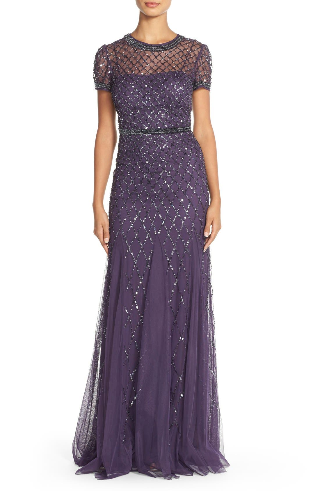 Beaded Mesh Gown,                             Main thumbnail 6, color,