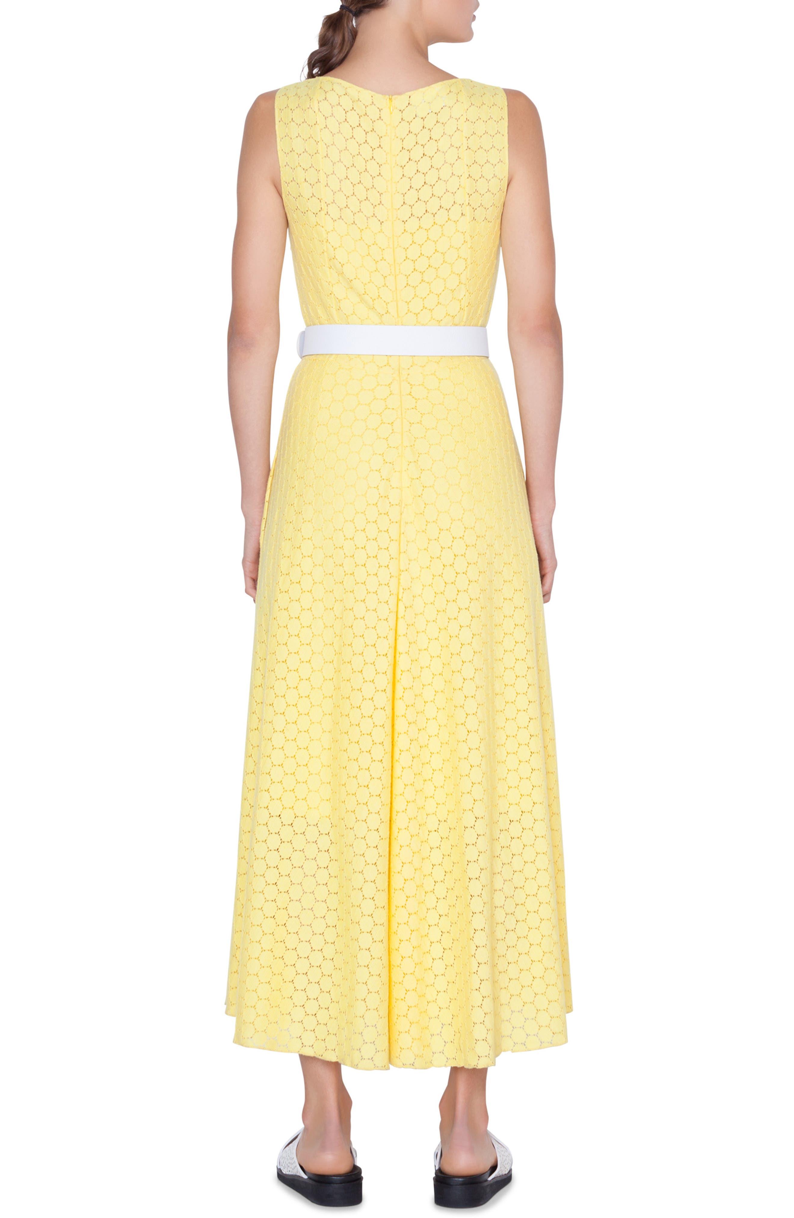 AKRIS PUNTO,                             Belted Lace Dress,                             Alternate thumbnail 2, color,                             LIMONE