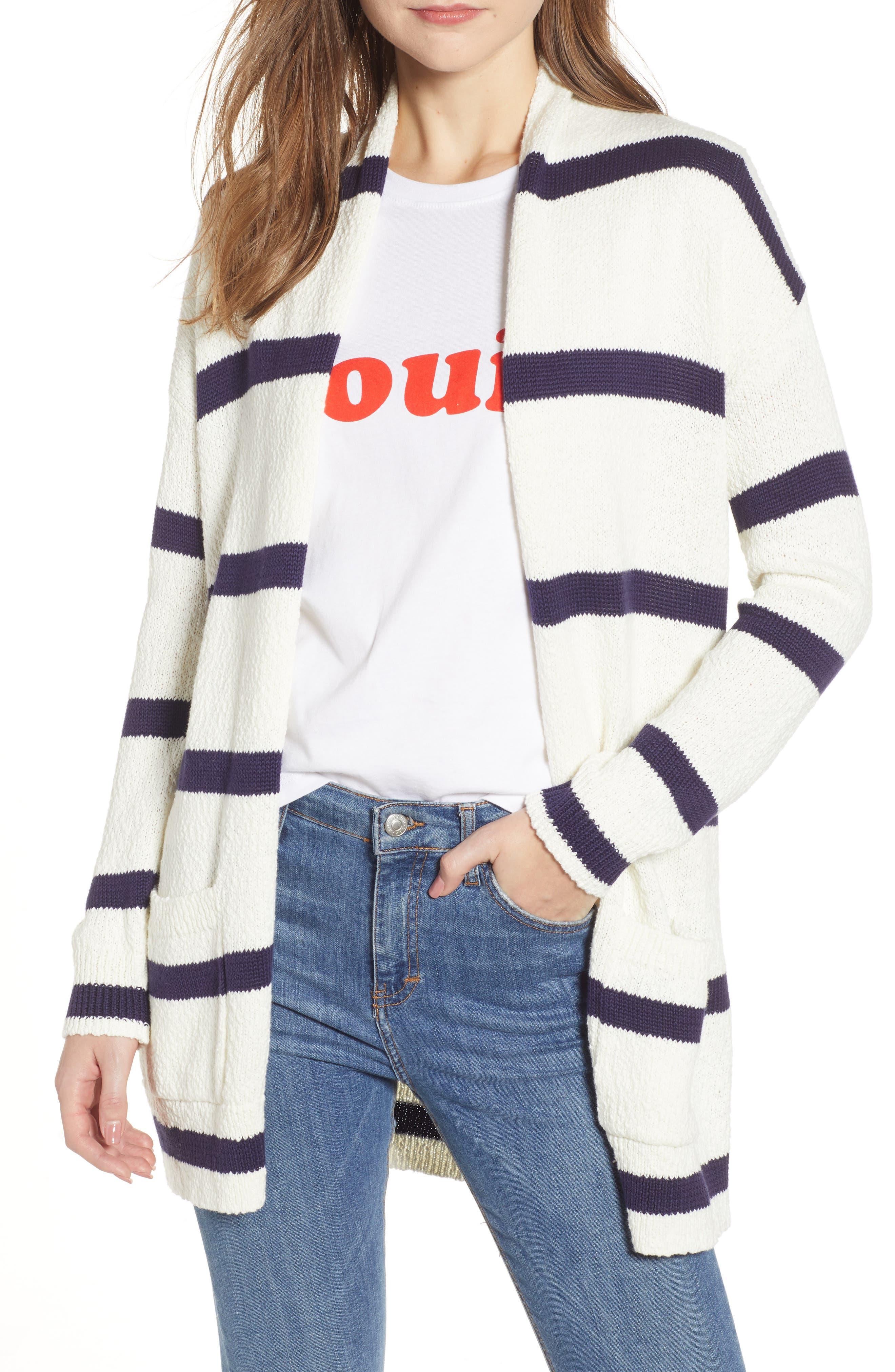 Plus Size Bp. Castaway Stripe Cardigan, Ivory