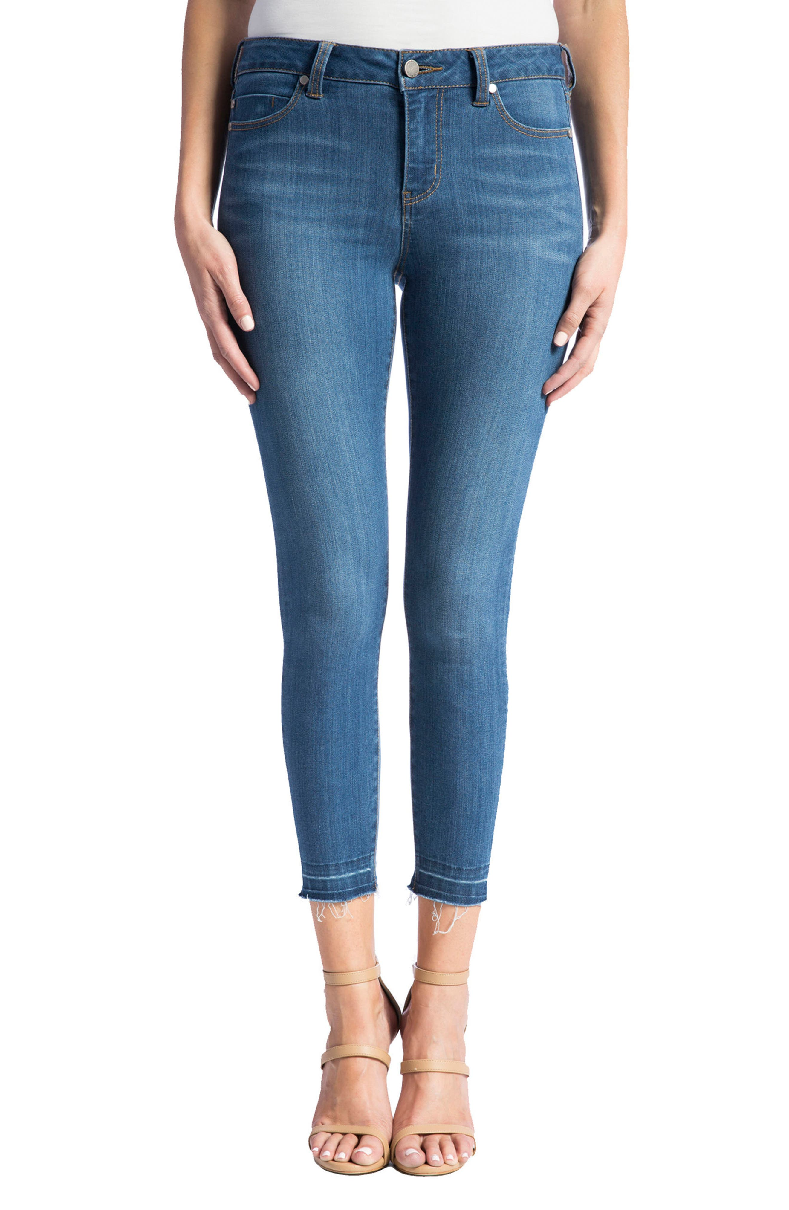 Avery High Rise Release Hem Stretch Crop Skinny Jeans, Main, color, 401