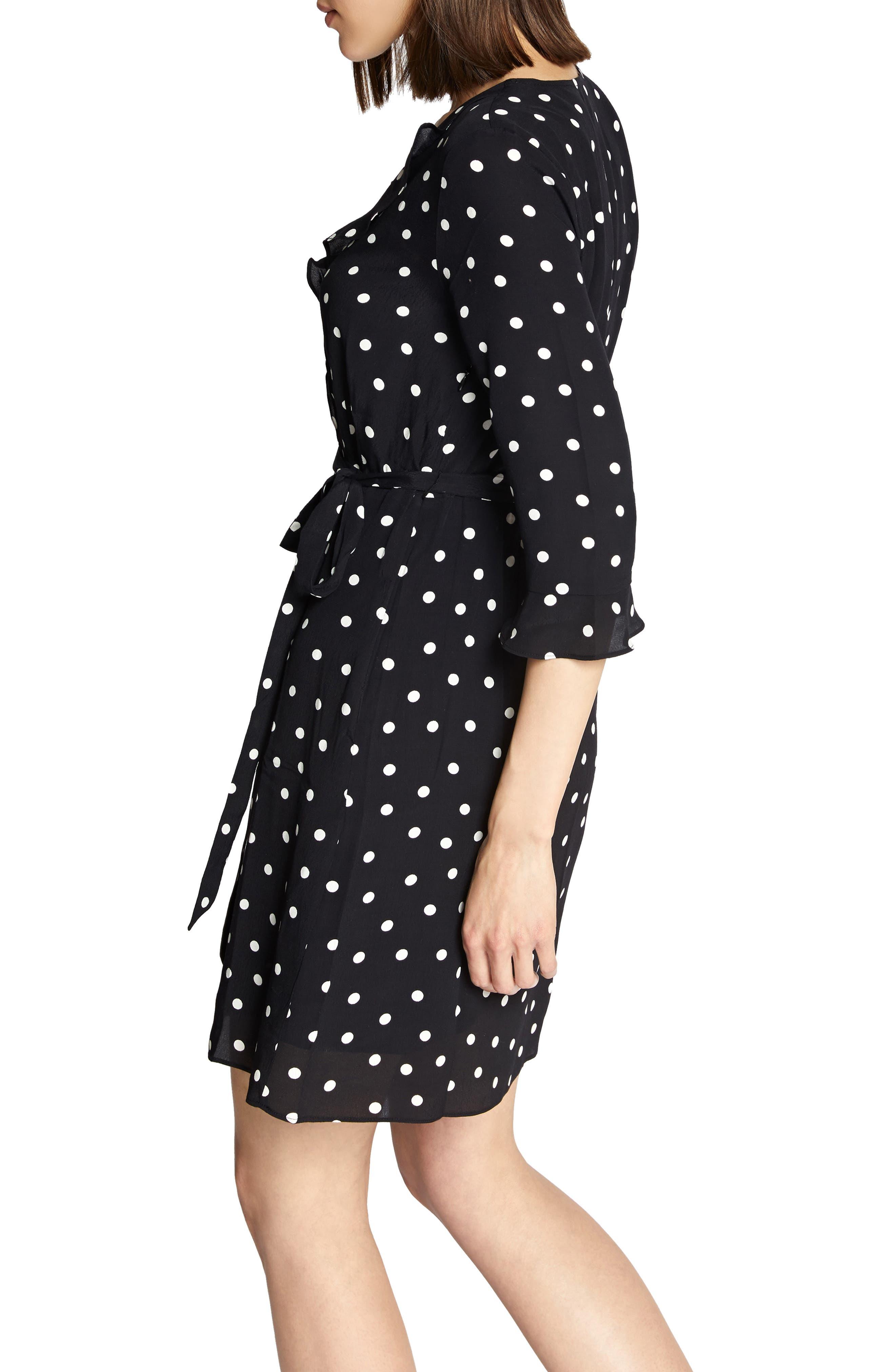 Faux Wrap Eye Candy Dress,                             Alternate thumbnail 3, color,                             BLACK DOTS