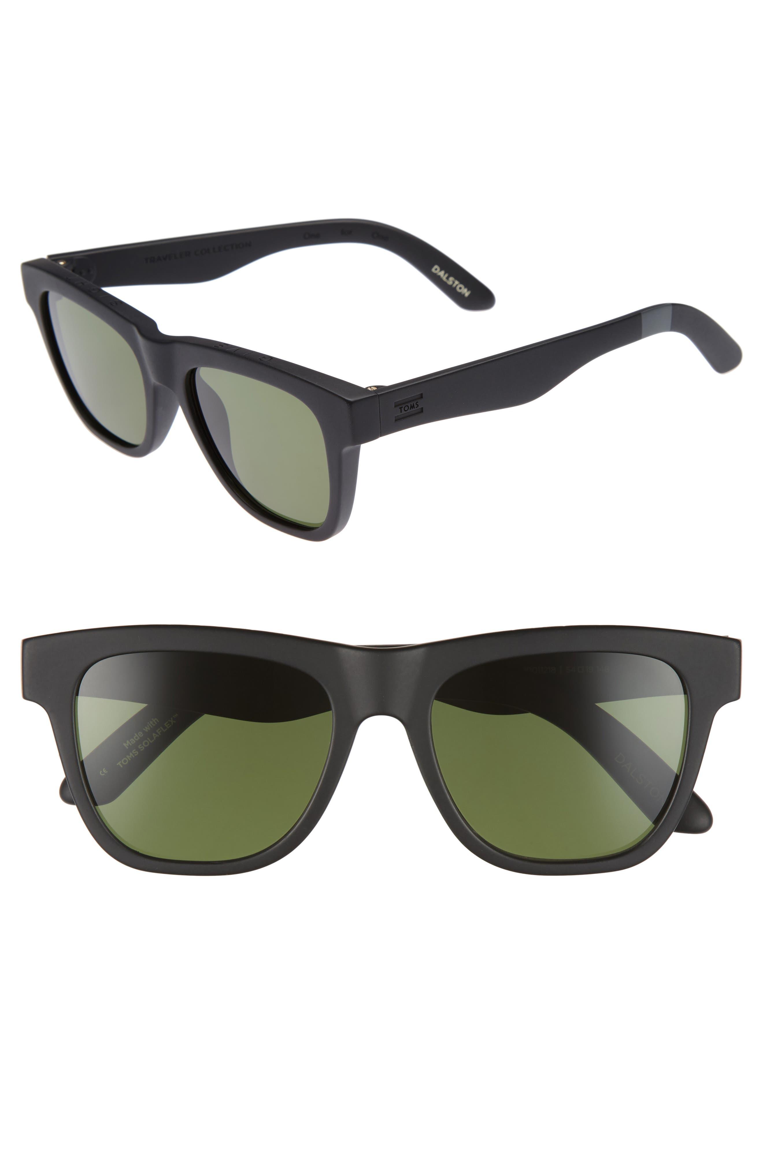 Dalston 54mm Polarized Sunglasses,                             Main thumbnail 1, color,                             MATTE BLACK POLAR