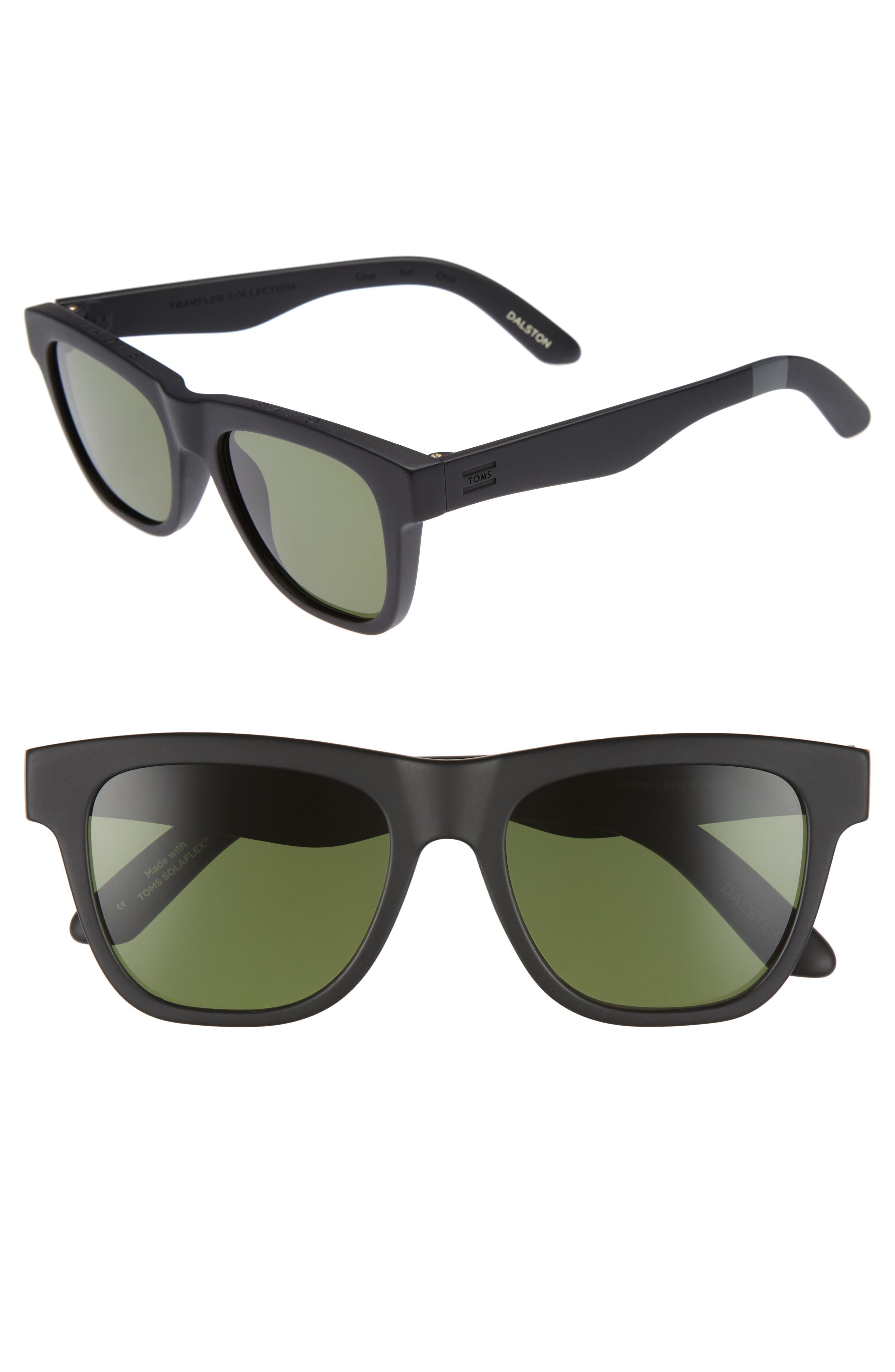 TOMS Dalston 54mm Polarized Sunglasses, Main, color, 001