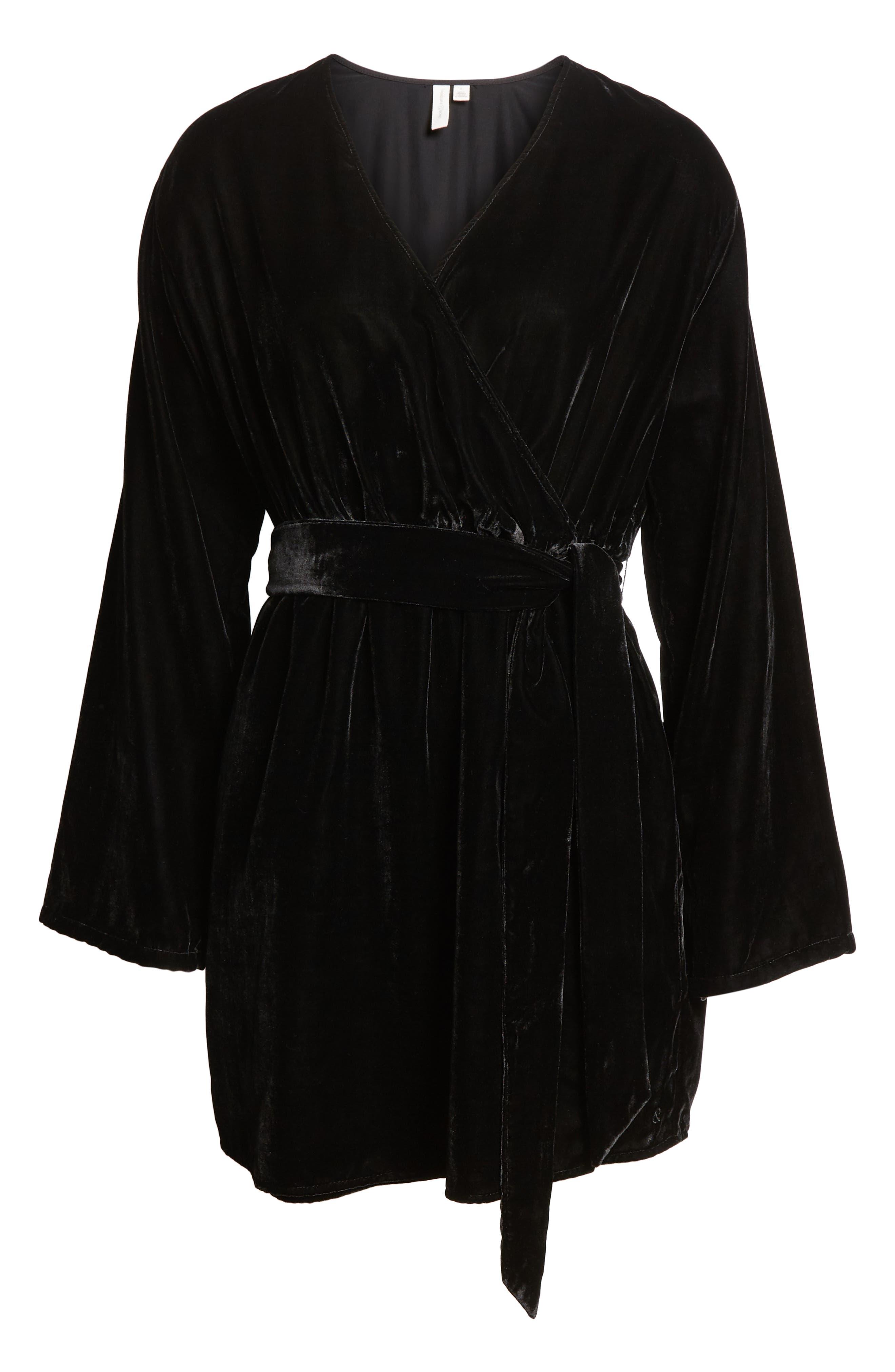 Velvet Faux Wrap Minidress,                             Alternate thumbnail 7, color,                             BLACK