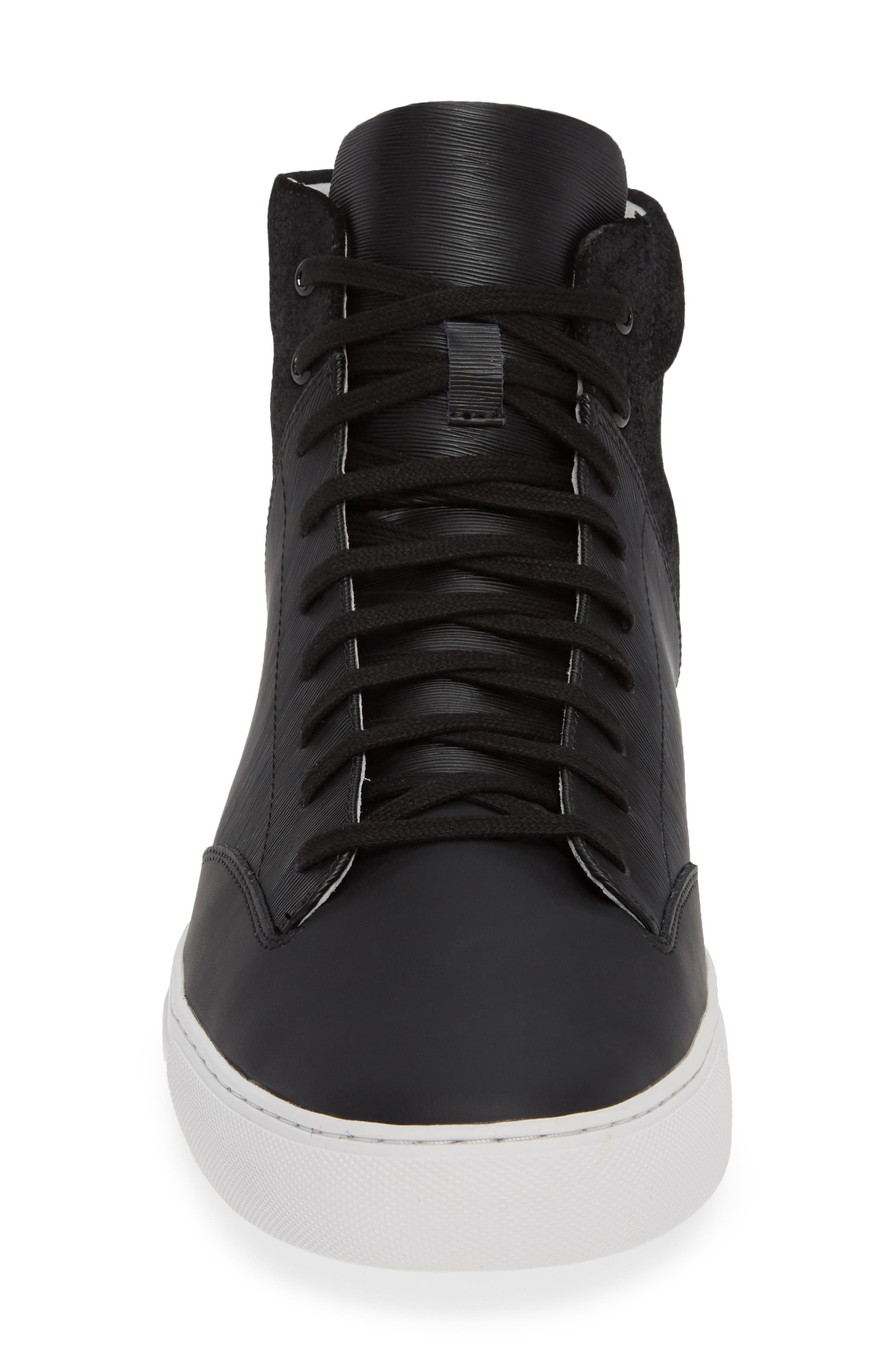 'Porter' High Top Sneaker,                             Alternate thumbnail 4, color,                             BLACK SUEDE/ LEATHER