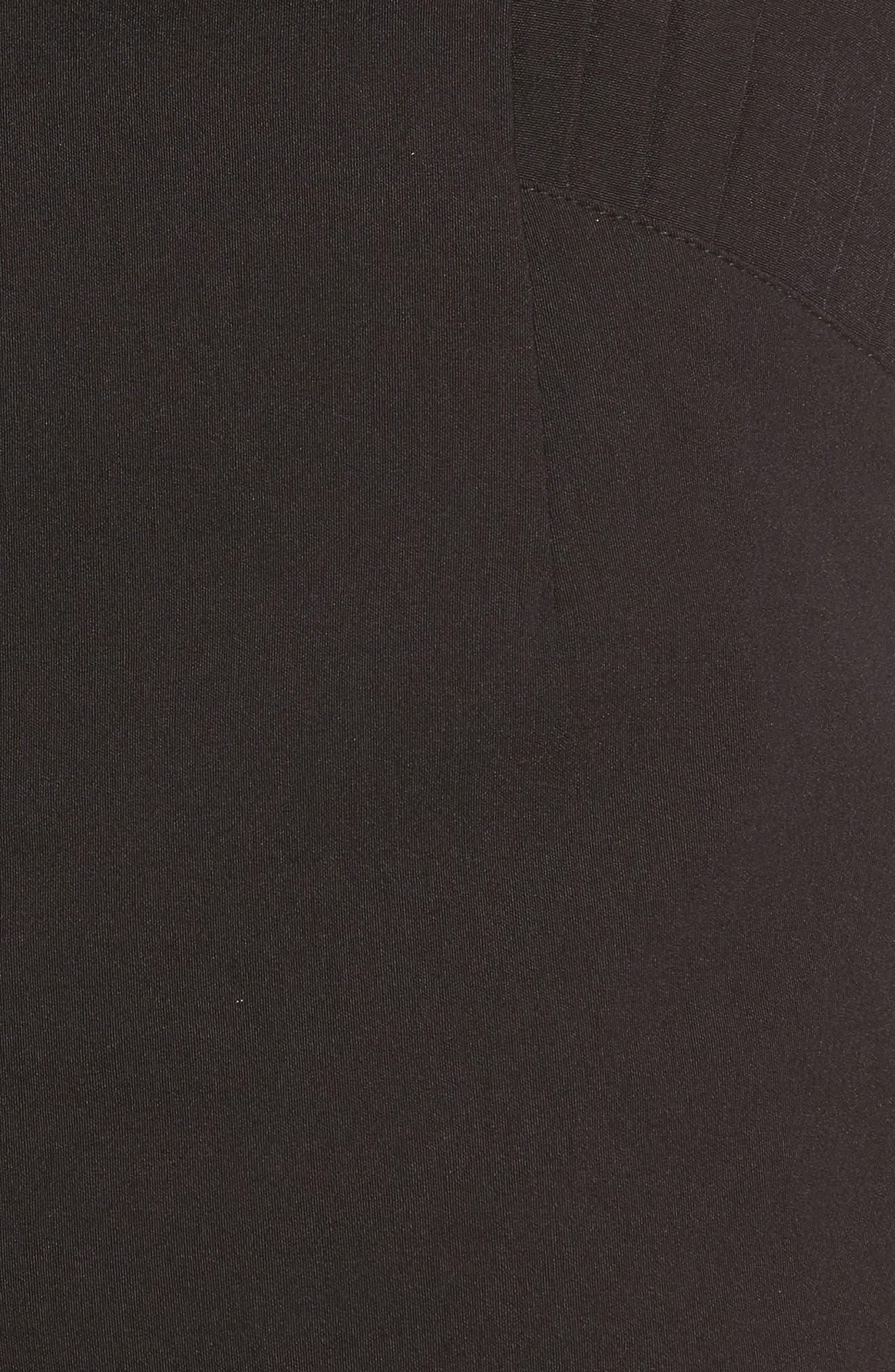 Pleat Trim High Waist Shorts,                             Alternate thumbnail 5, color,                             001