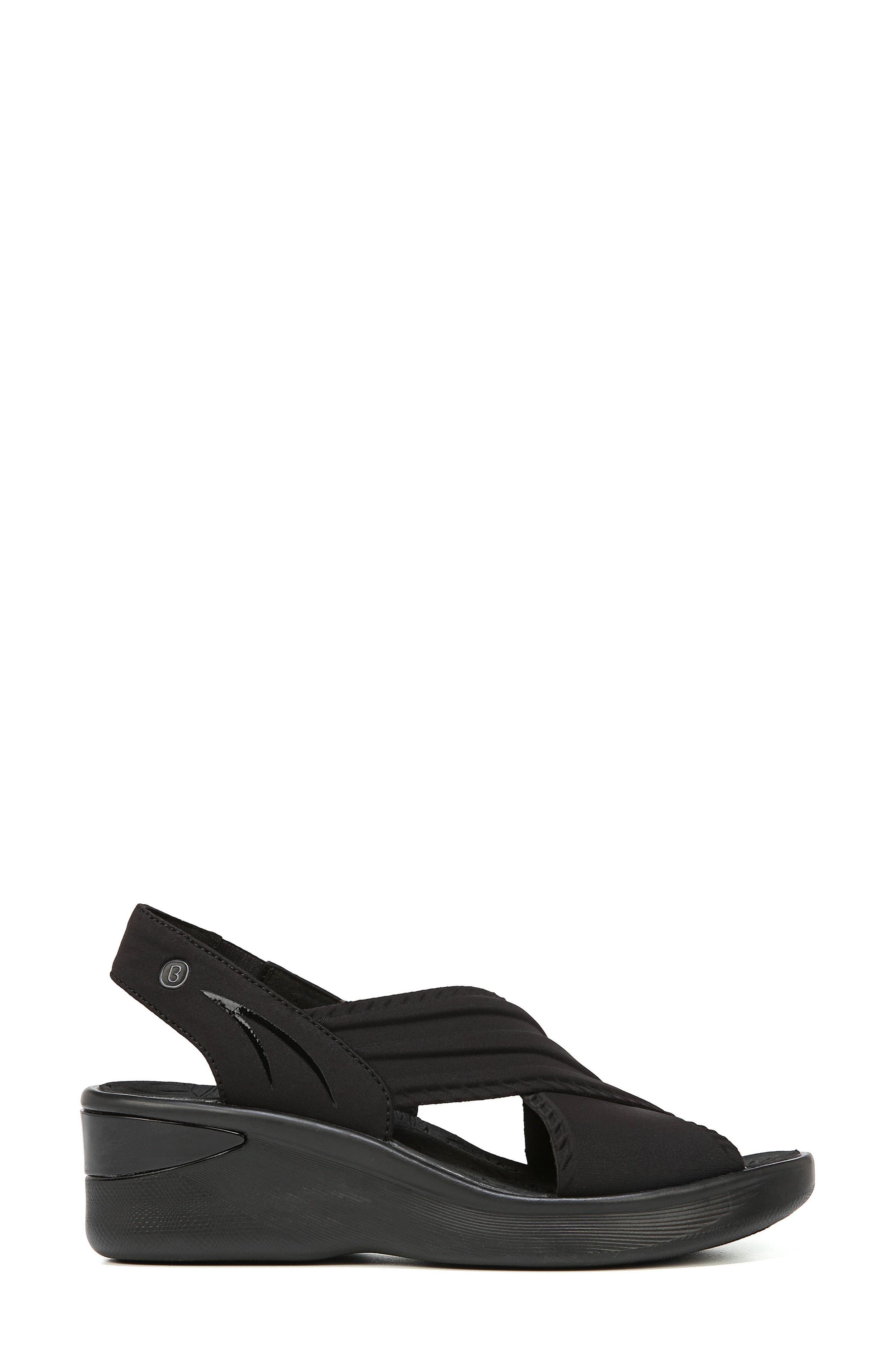 Sunset Wedge Sandal,                             Alternate thumbnail 3, color,                             BLACK FABRIC