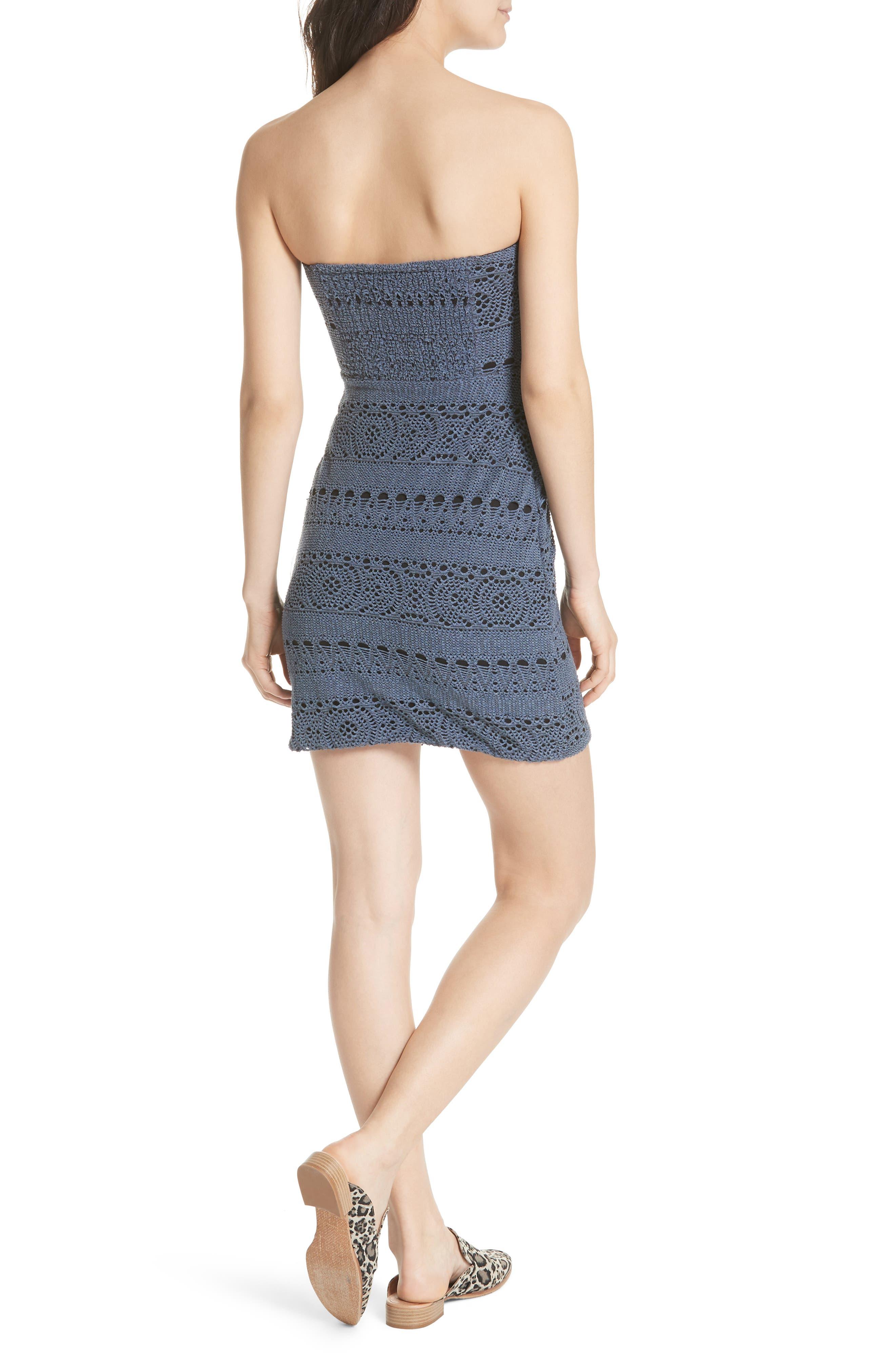 Oceanside Crochet Strapless Minidress,                             Alternate thumbnail 3, color,
