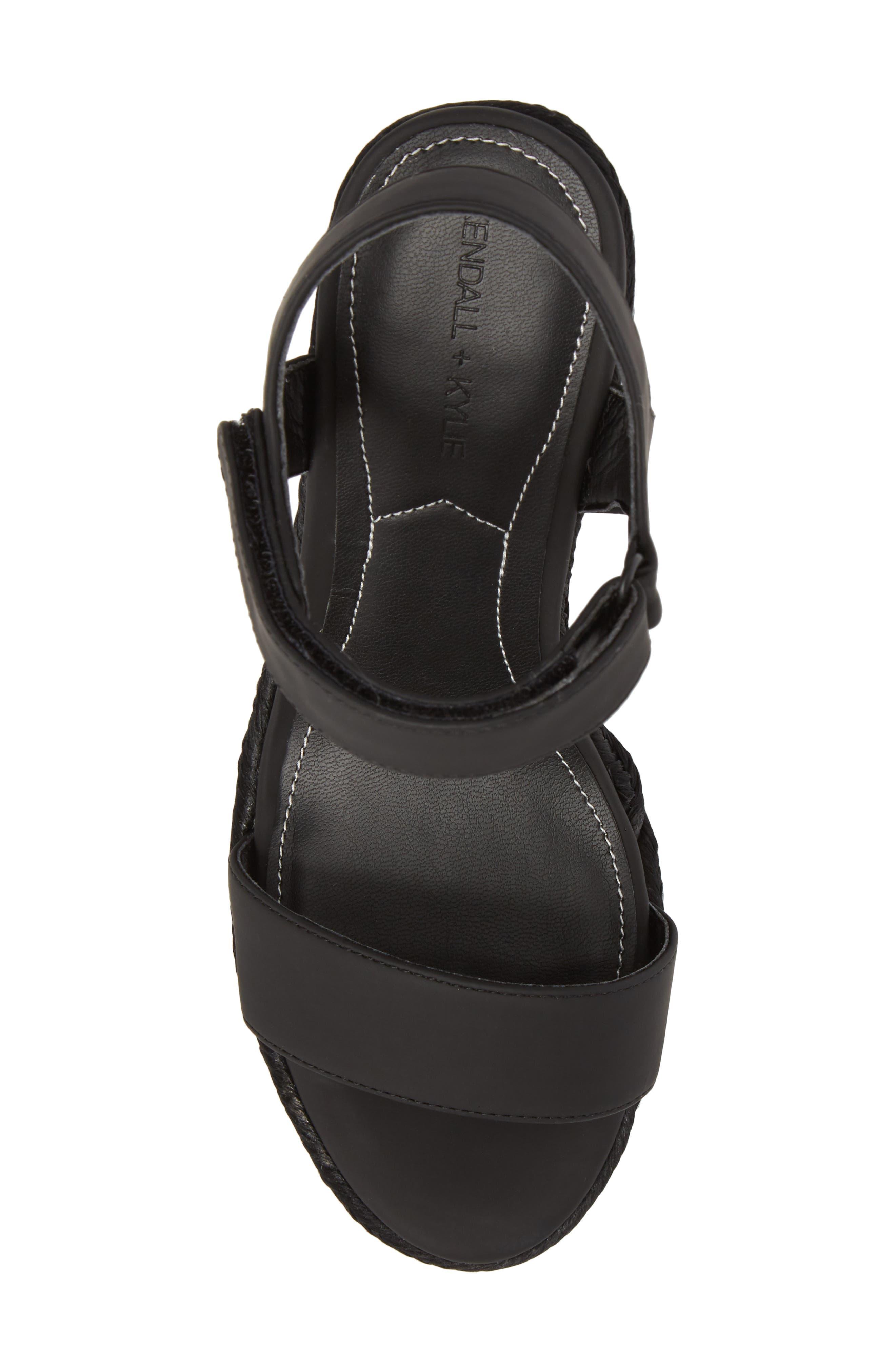 Grand Sport Espadrille Wedge Sandal,                             Alternate thumbnail 5, color,                             BLACK
