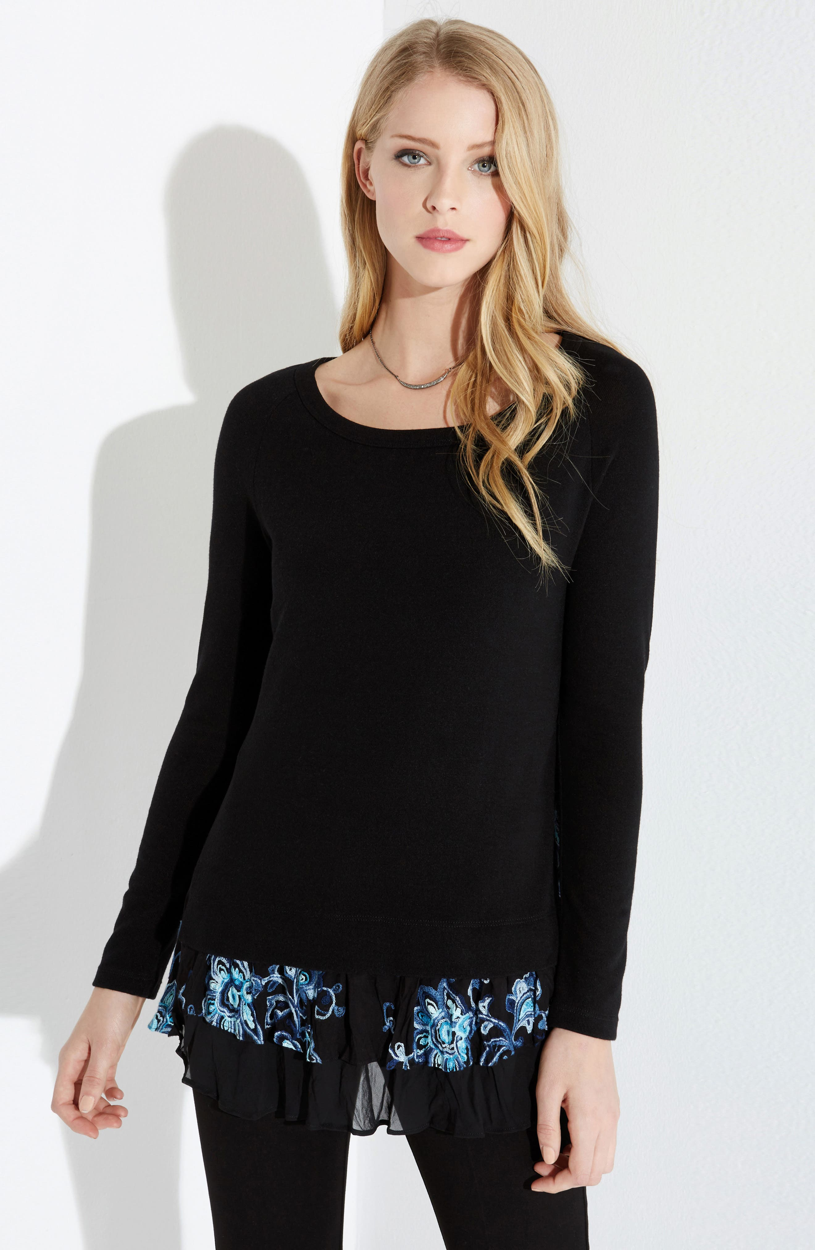 Flower Embroidery Layered Hem Top,                             Alternate thumbnail 3, color,