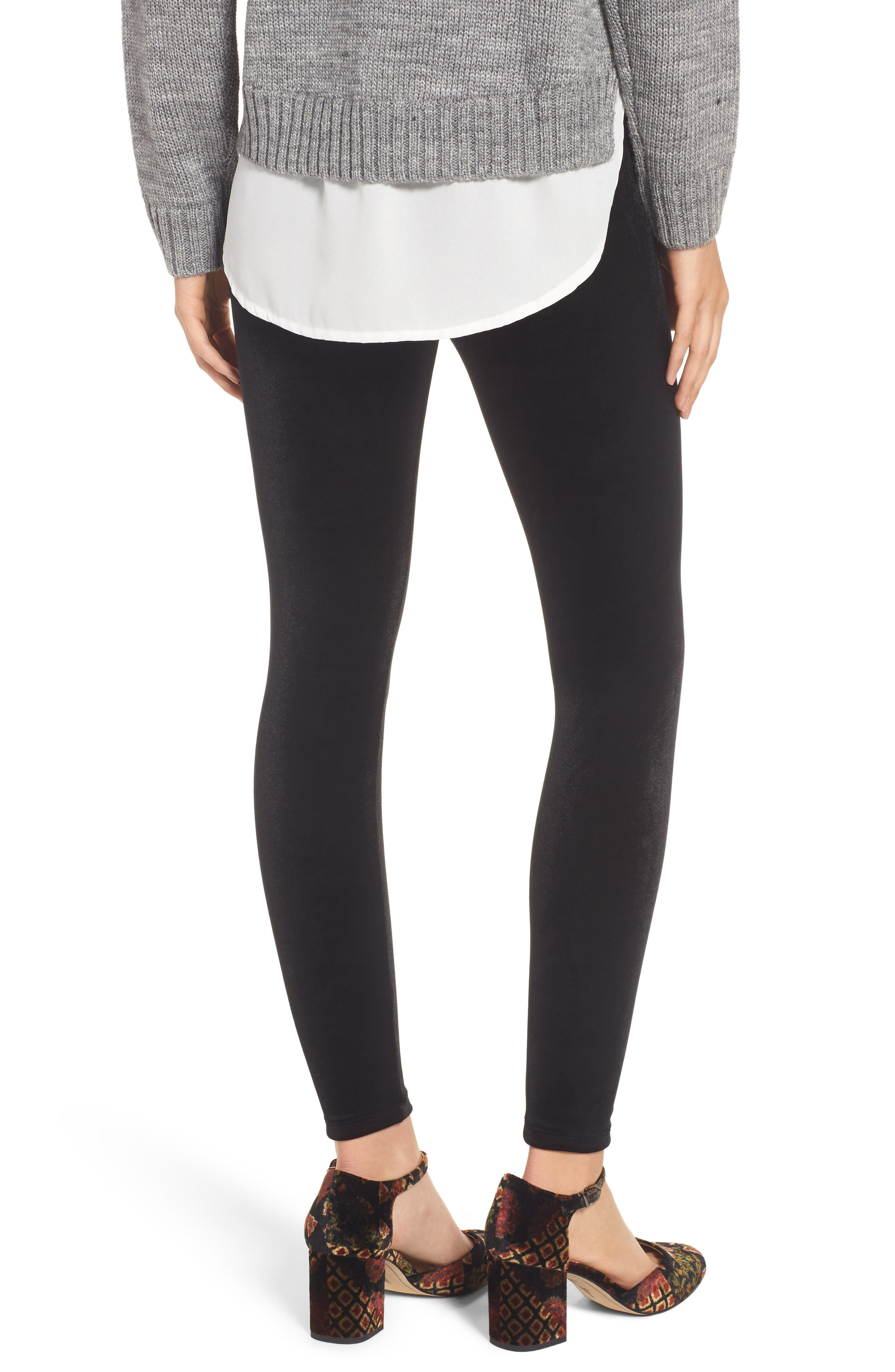Perfect Control Top Velvet Leggings,                             Alternate thumbnail 2, color,                             BLACK