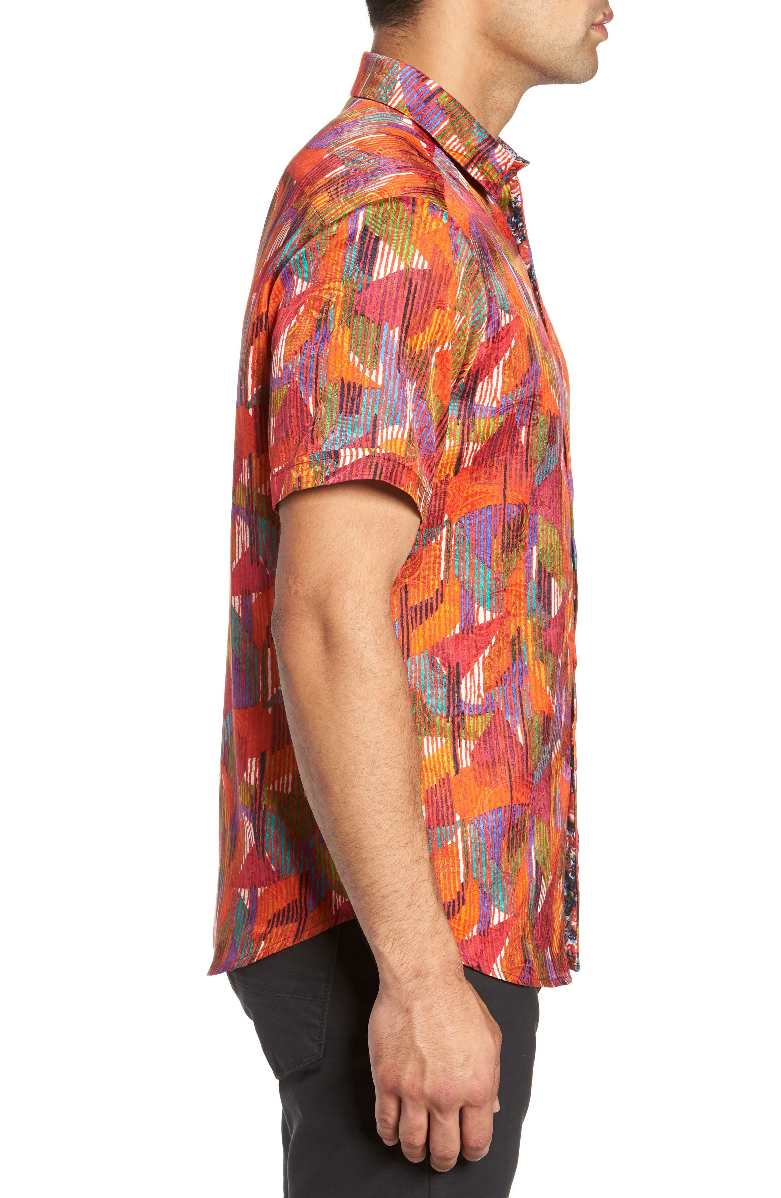 ROBERT GRAHAM,                             Gallagher Classic Fit Silk Blend Sport Shirt,                             Alternate thumbnail 4, color,                             600