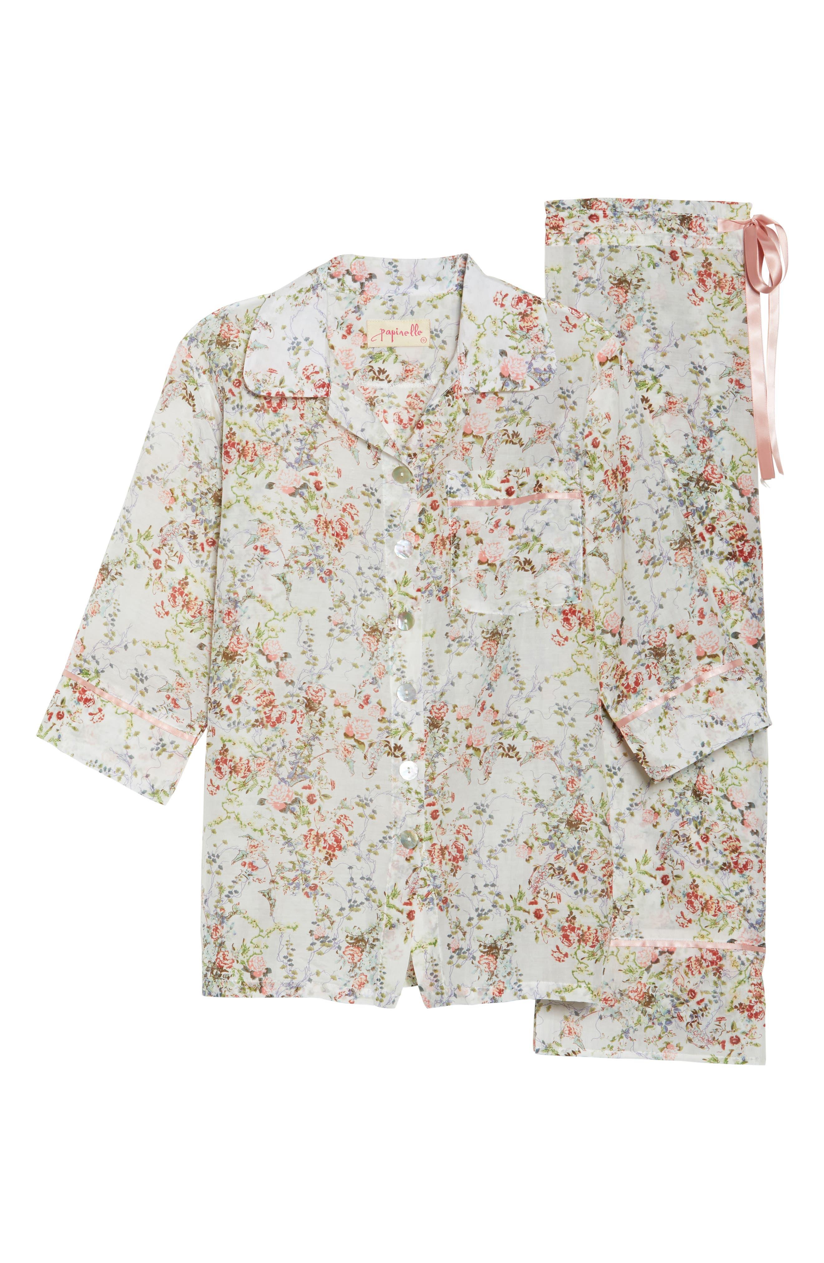 Yolly Floral Cotton & Silk Pajamas,                             Alternate thumbnail 6, color,