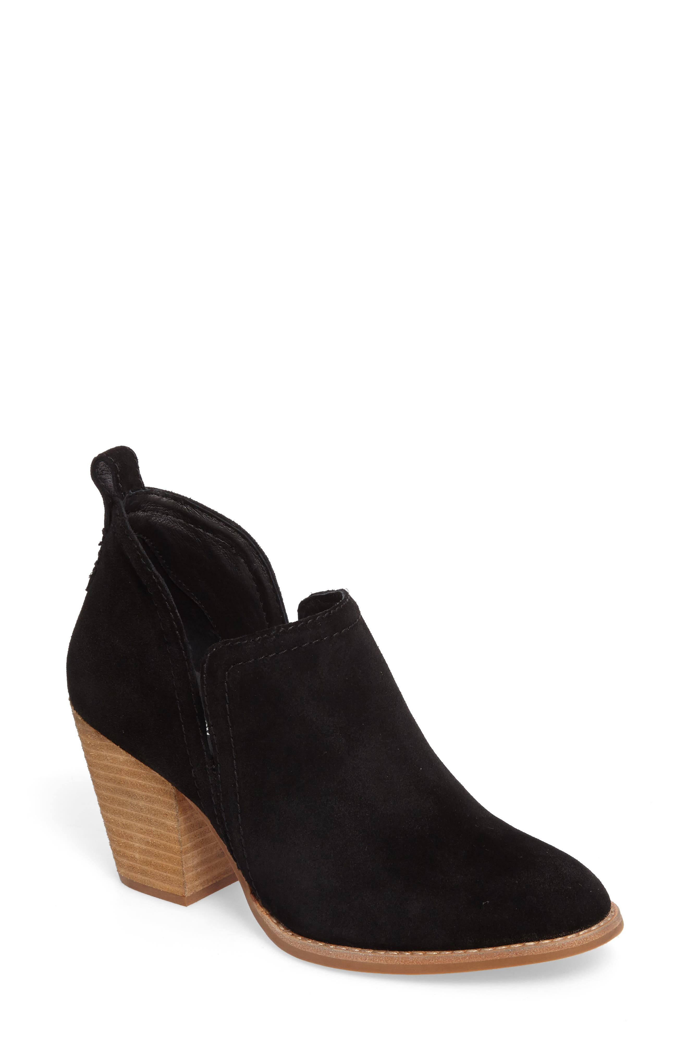Rosalee Bootie,                             Main thumbnail 1, color,                             BLACK OILED SUEDE