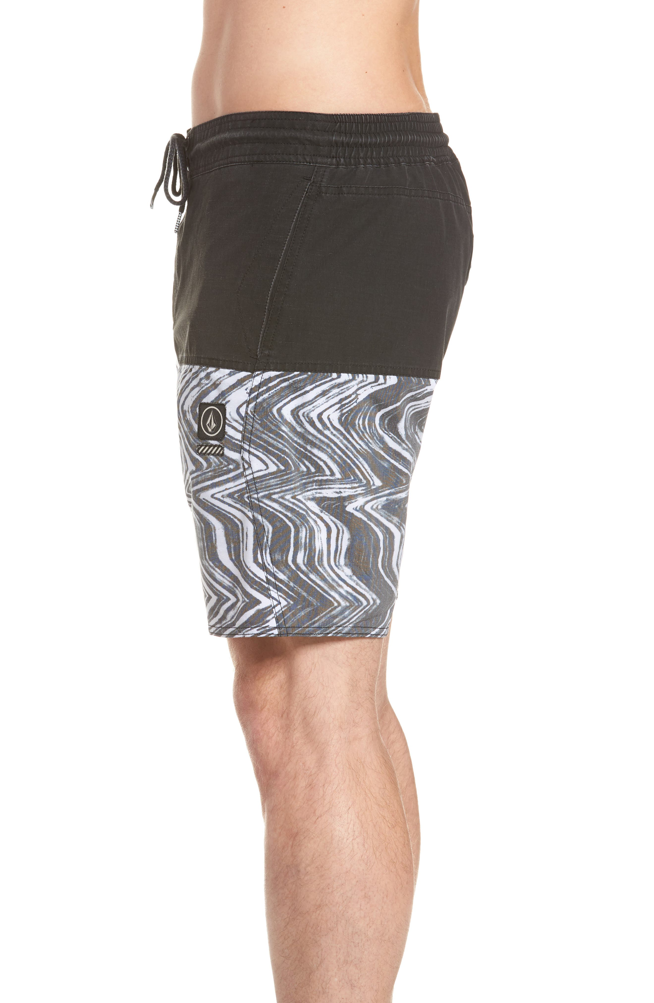 Vibes Half Stoney Board Shorts,                             Alternate thumbnail 4, color,                             BLACK