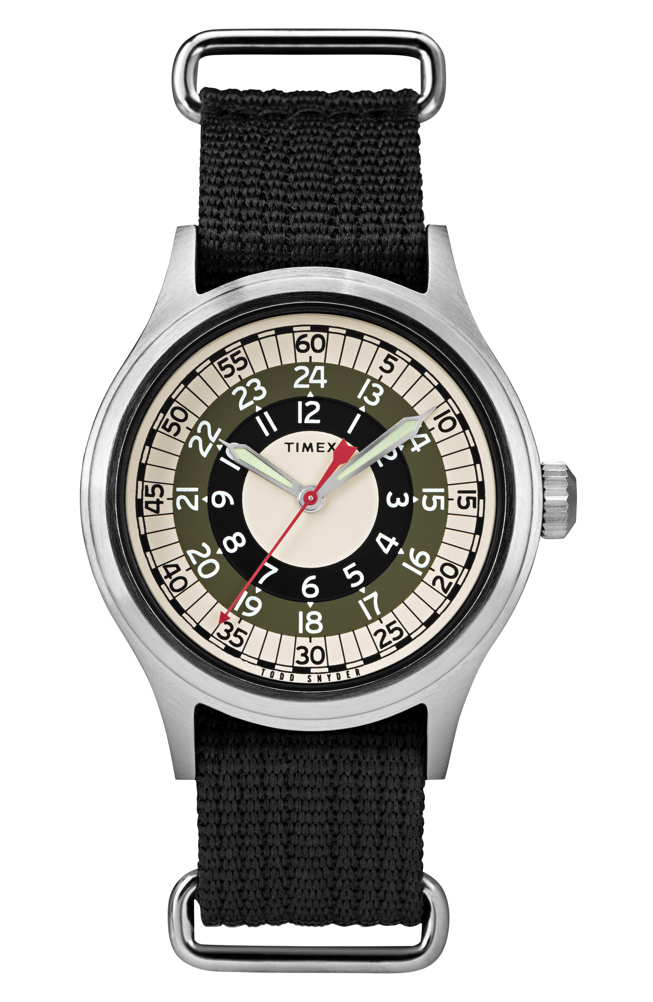 The Mod NATO Strap Watch, 40mm,                         Main,                         color, BLACK/ WHITE