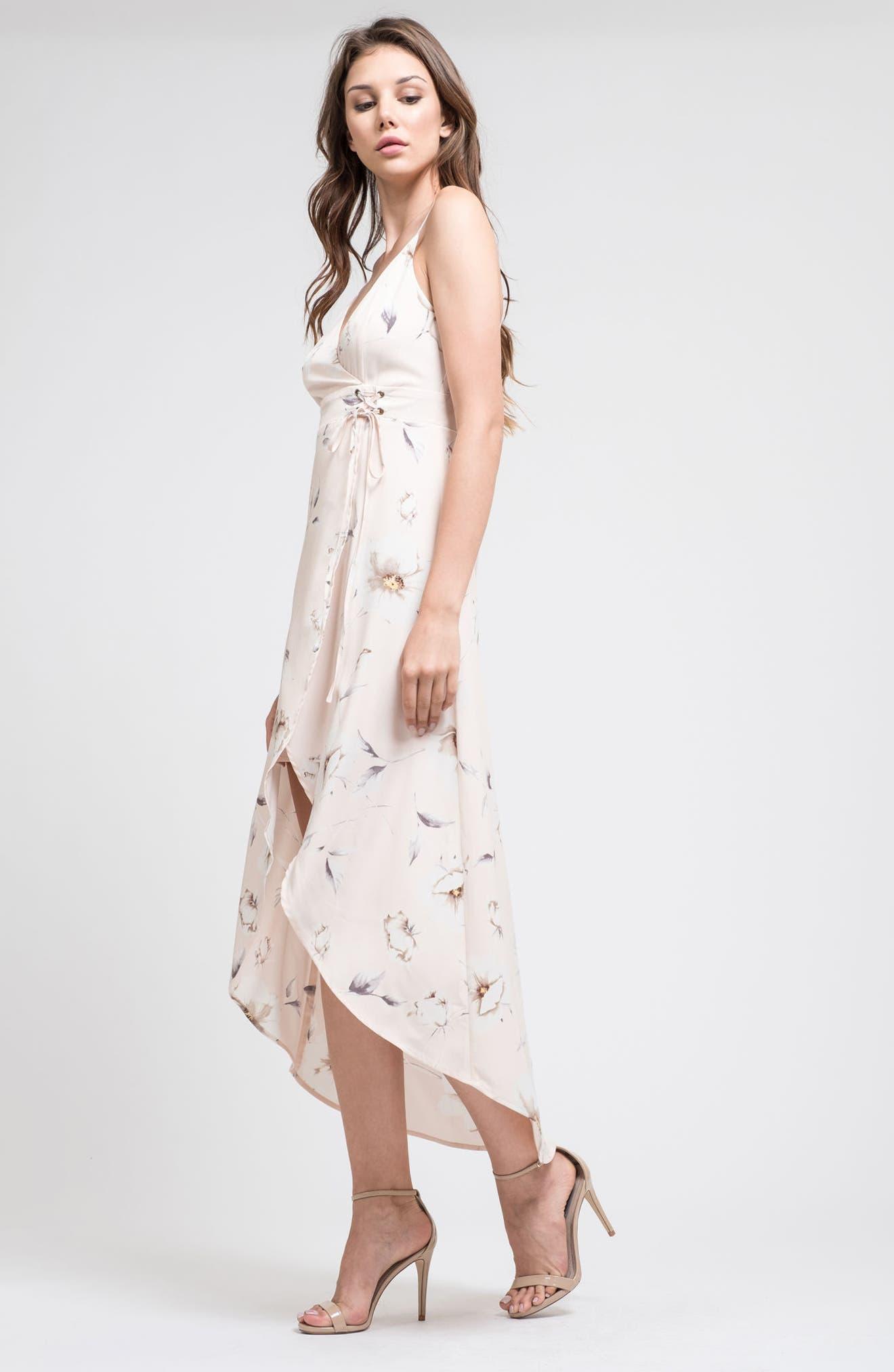 J.O.A.,                             Faux Wrap Midi Dress,                             Alternate thumbnail 8, color,                             650