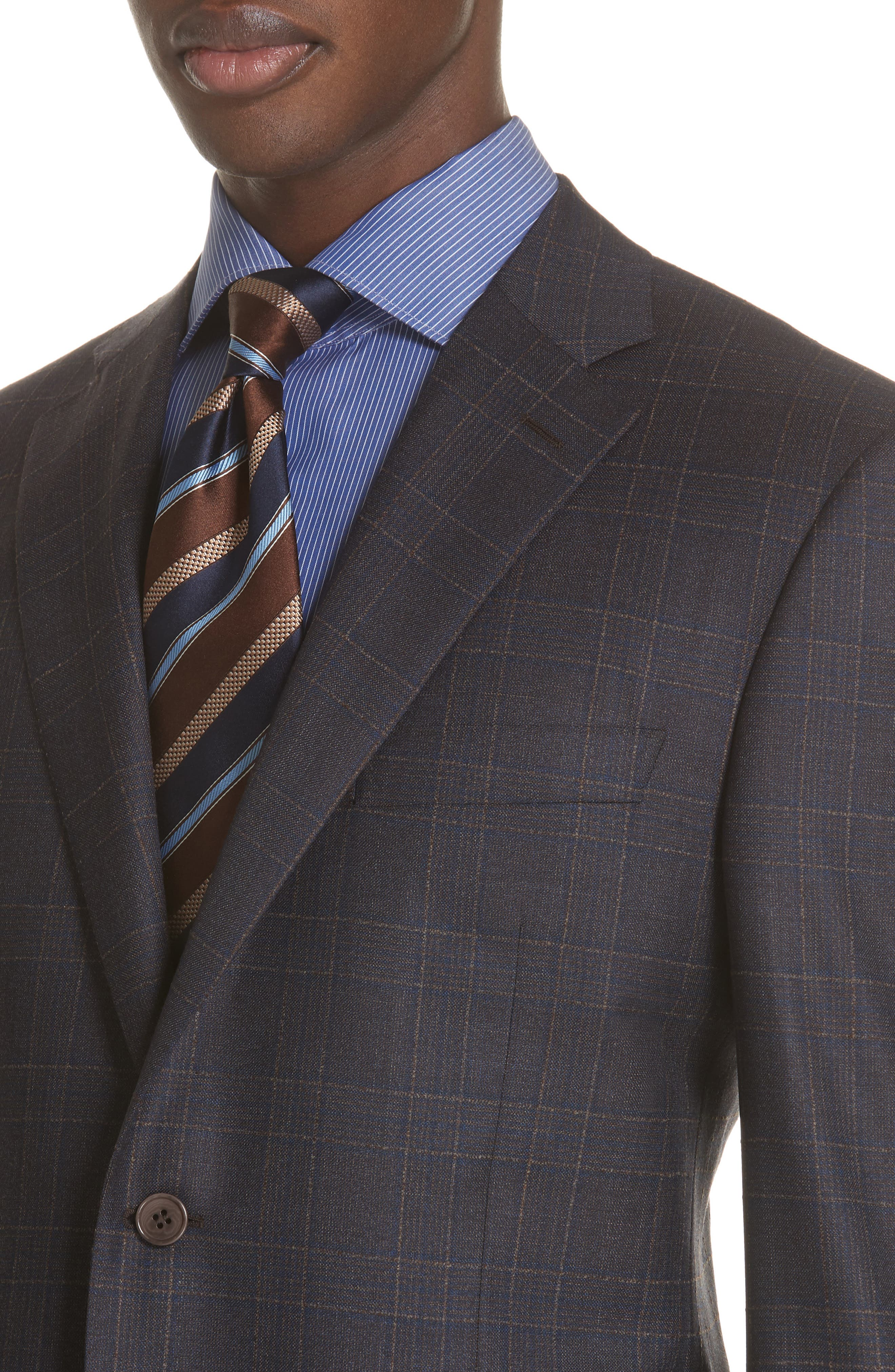 Classic Fit Plaid Wool Sport Coat,                             Alternate thumbnail 4, color,                             MED BROWN