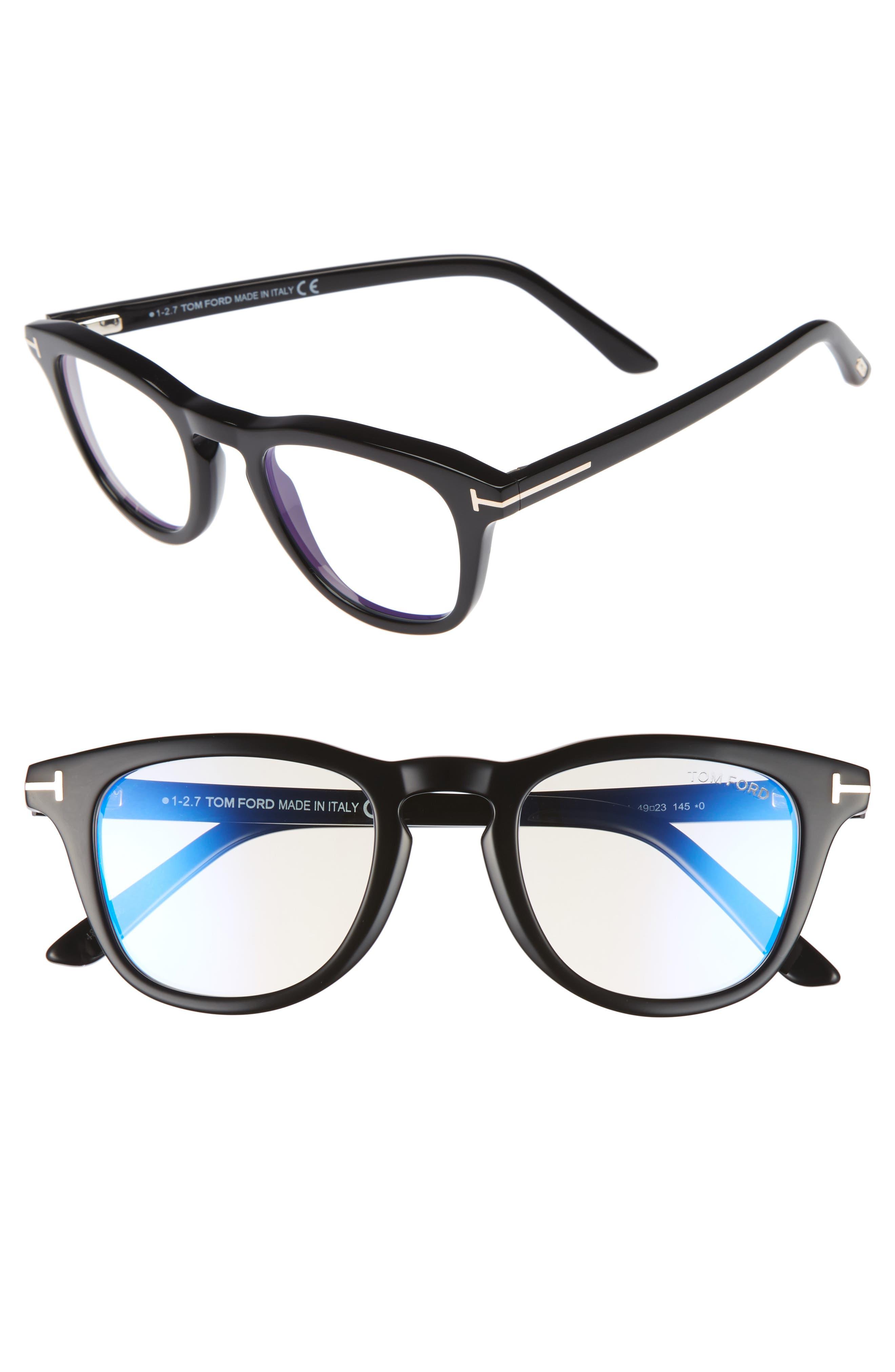 49mm Blue Block Optical Glasses,                         Main,                         color, SHINY BLACK/ BLUE